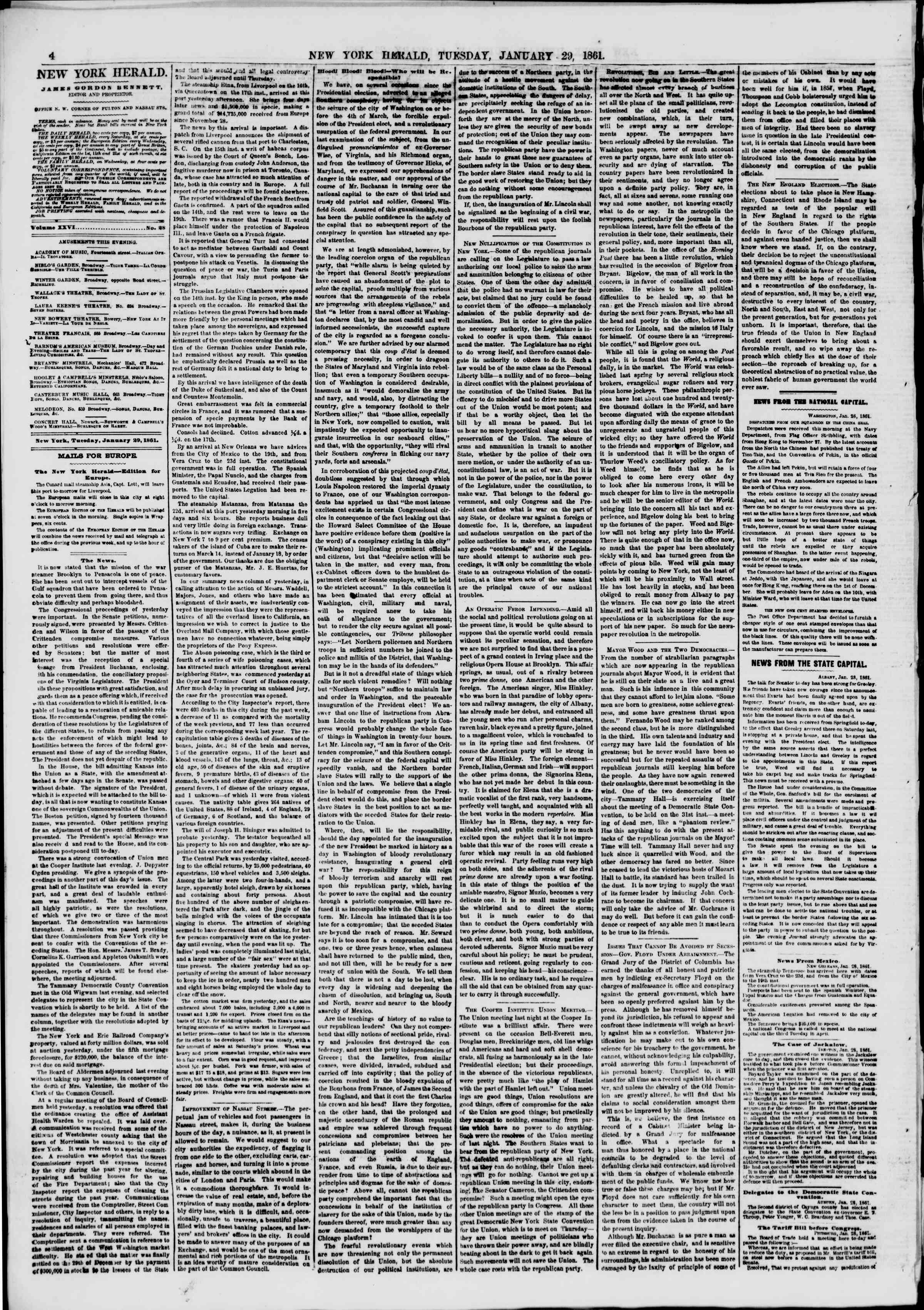 Newspaper of The New York Herald dated January 29, 1861 Page 4