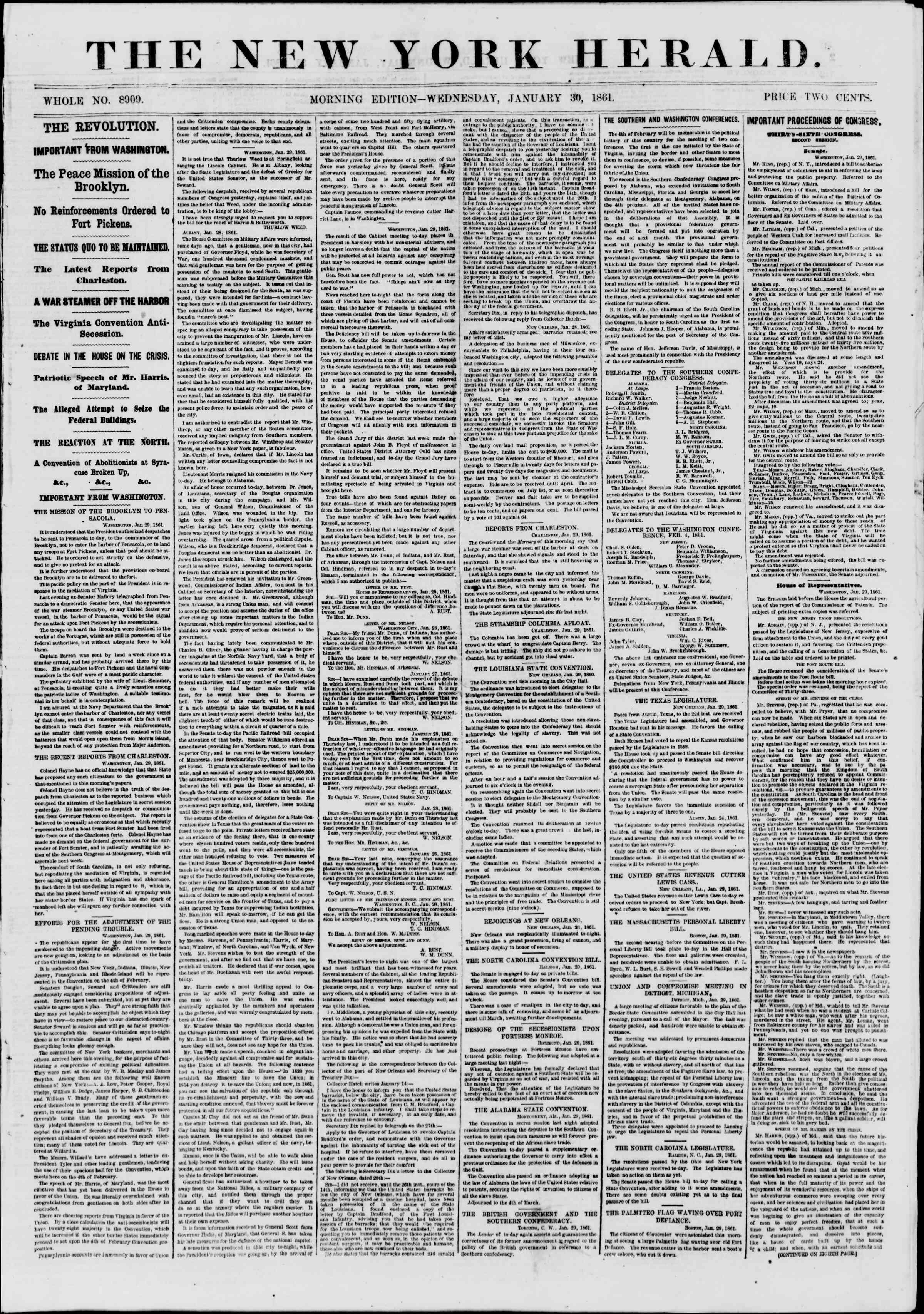 30 Ocak 1861 tarihli The New York Herald Gazetesi Sayfa 1