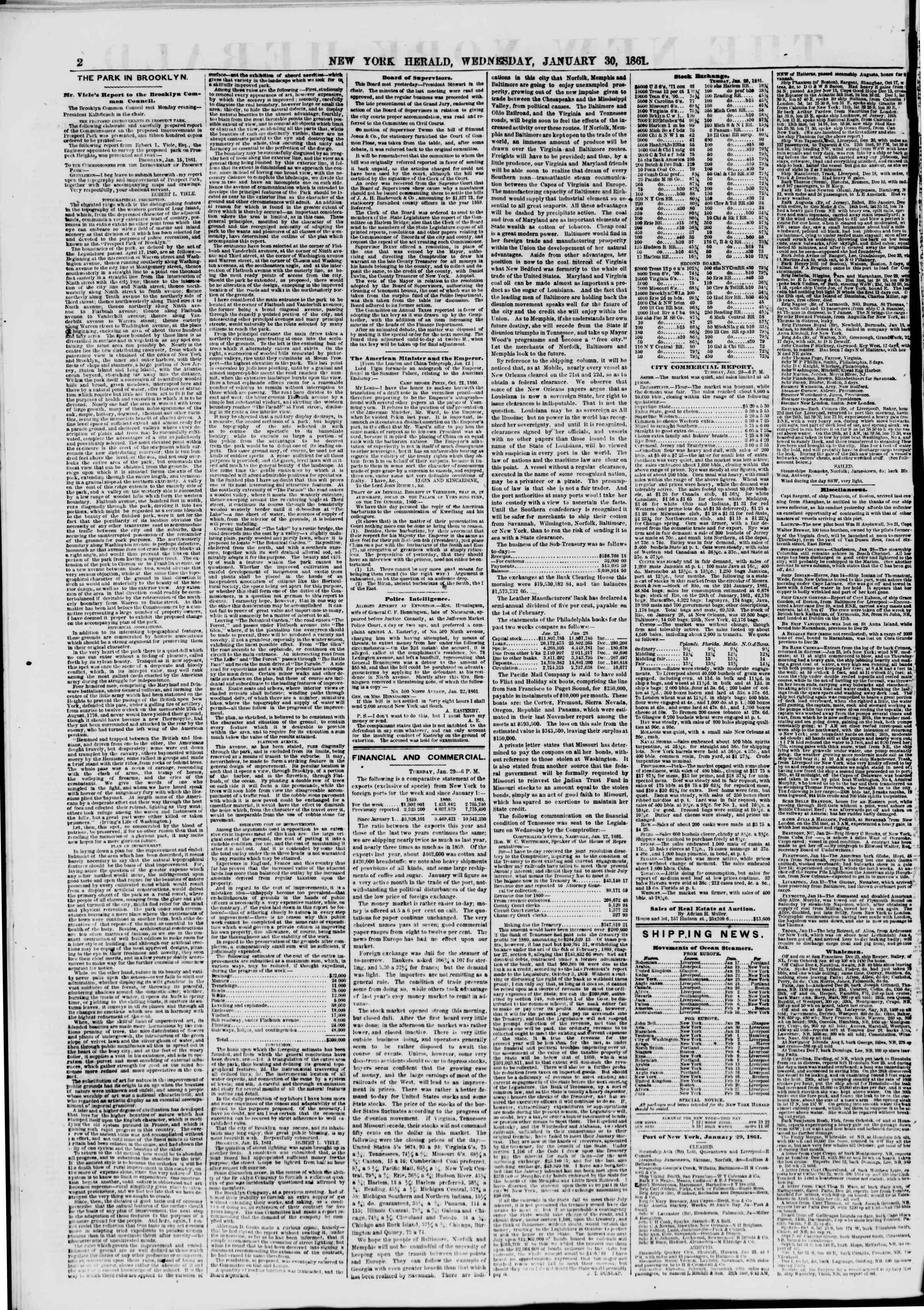 Newspaper of The New York Herald dated January 30, 1861 Page 2