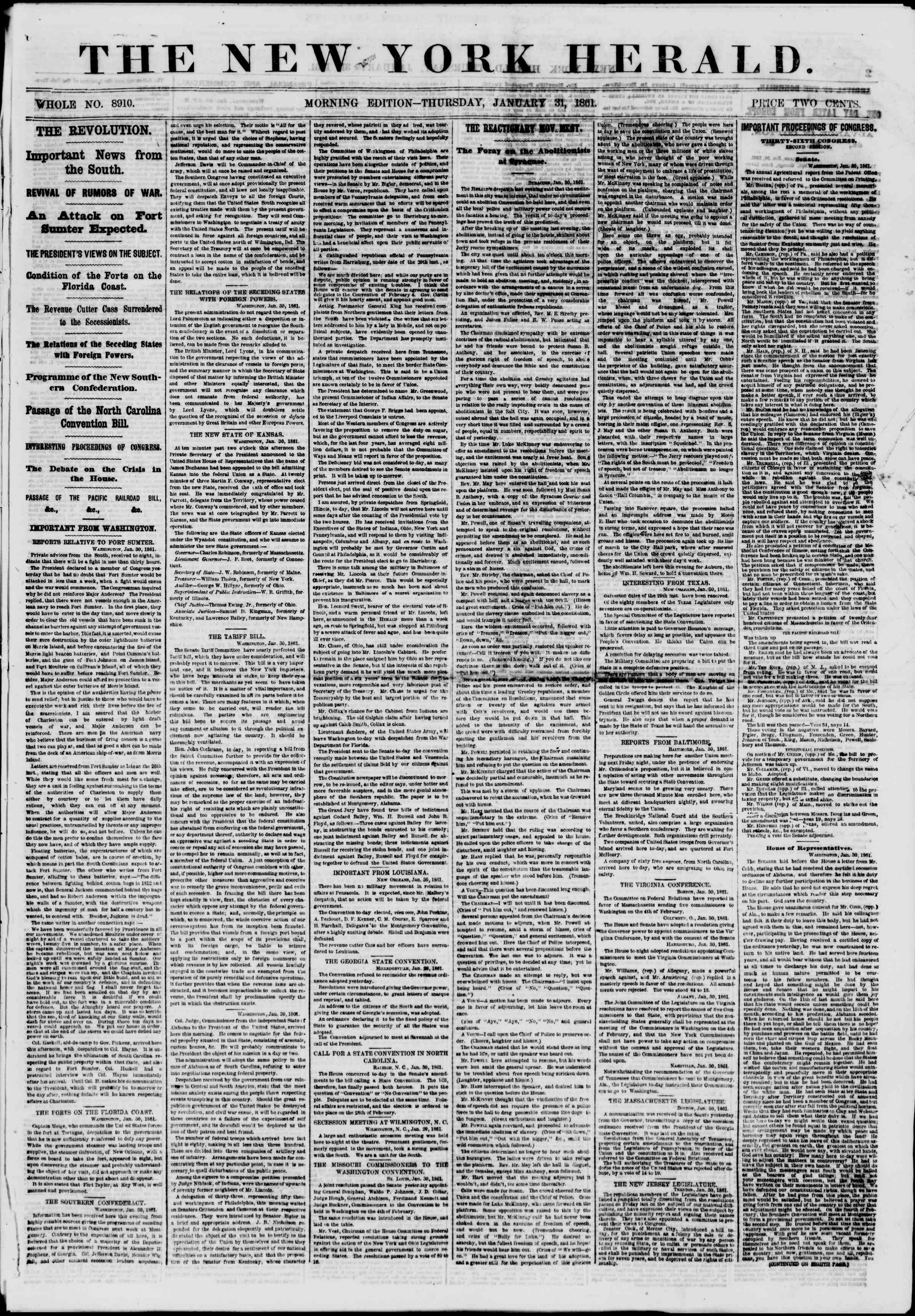 Newspaper of The New York Herald dated January 31, 1861 Page 1
