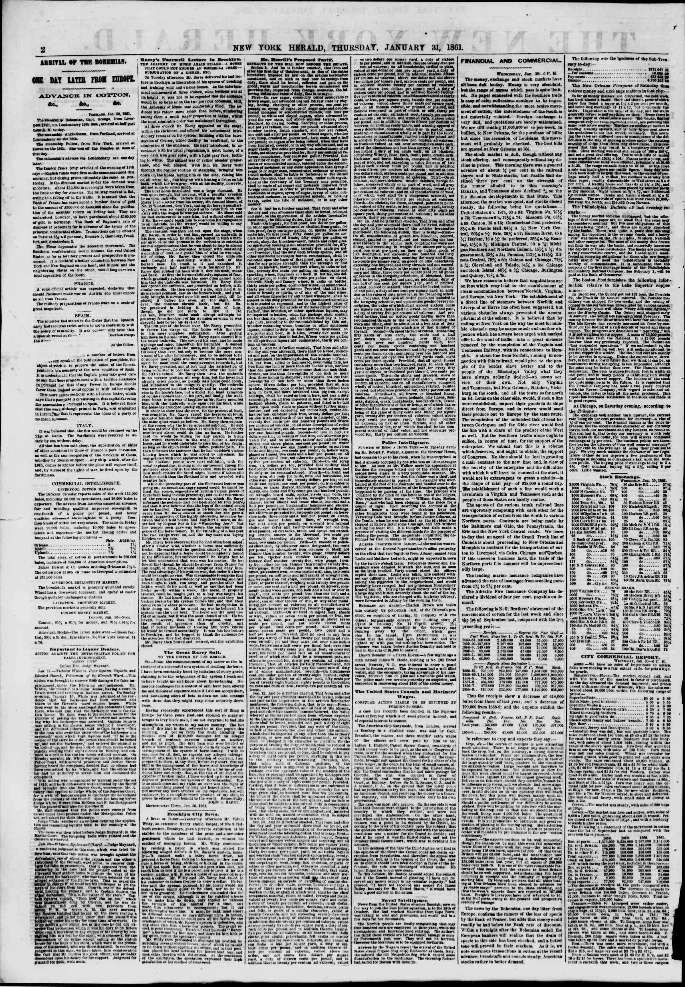 Newspaper of The New York Herald dated January 31, 1861 Page 2