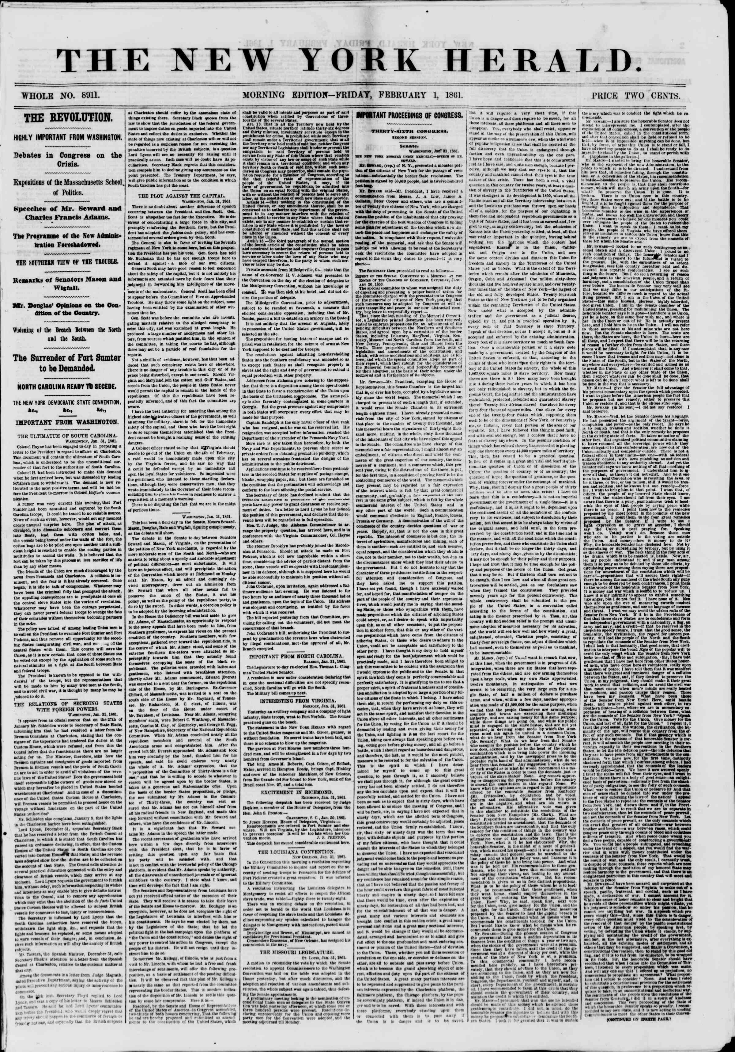Newspaper of The New York Herald dated February 1, 1861 Page 1