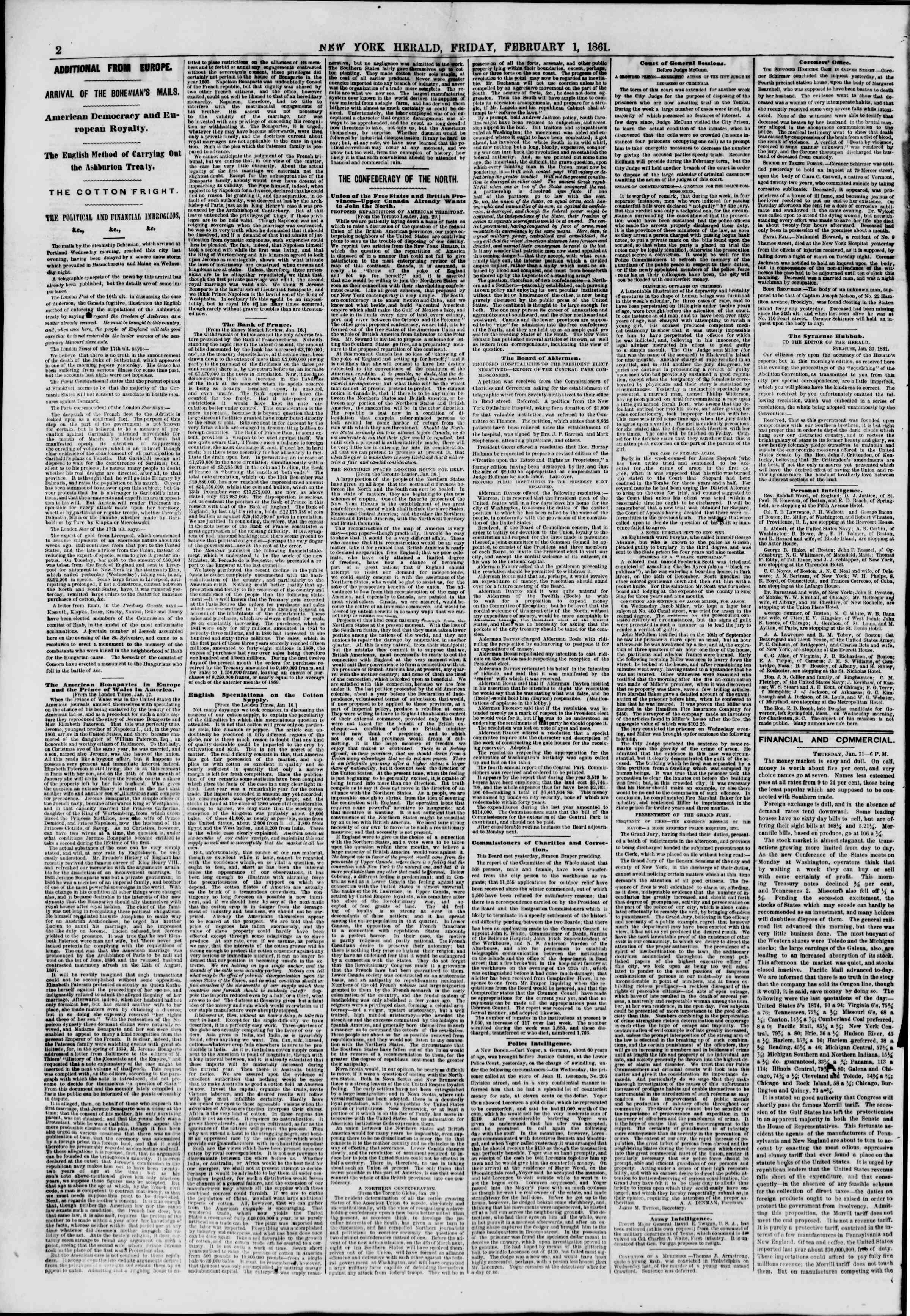 Newspaper of The New York Herald dated February 1, 1861 Page 2