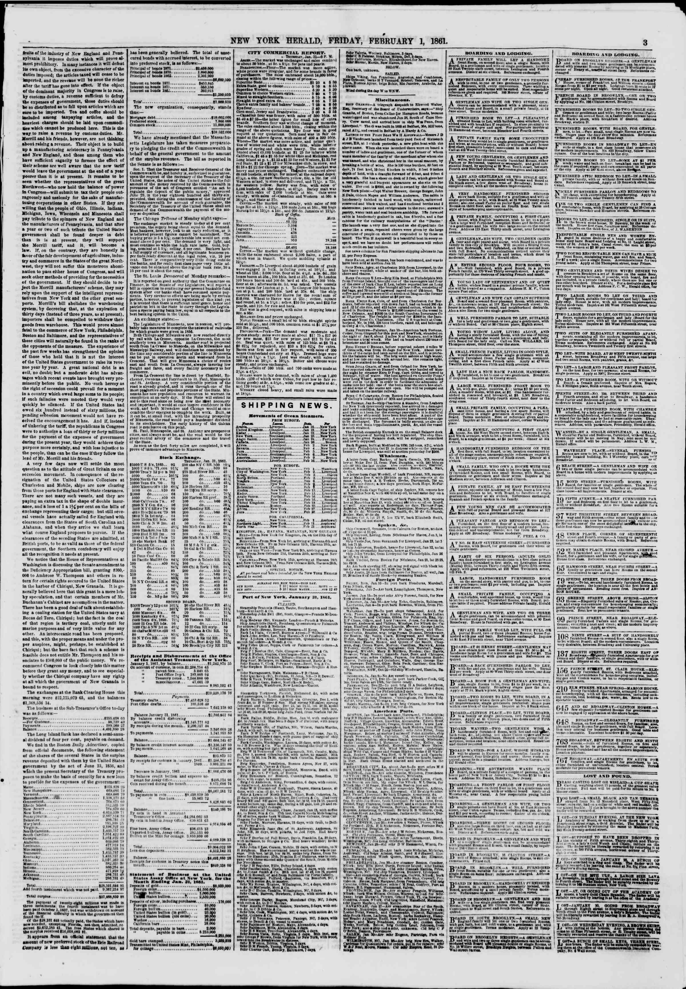 Newspaper of The New York Herald dated February 1, 1861 Page 3