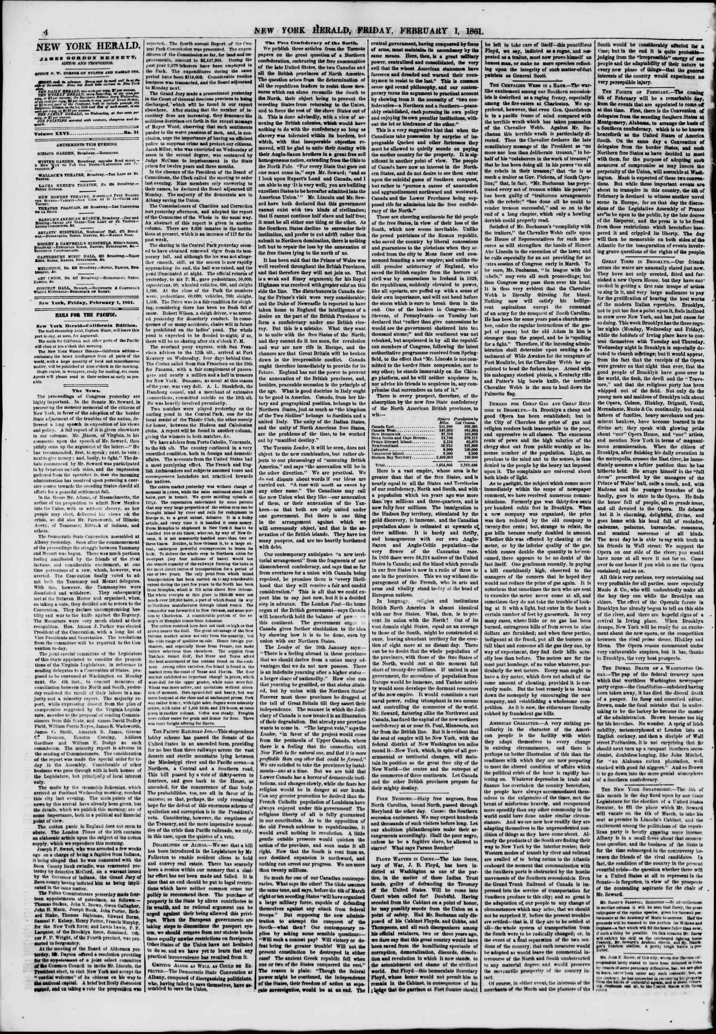 Newspaper of The New York Herald dated February 1, 1861 Page 4