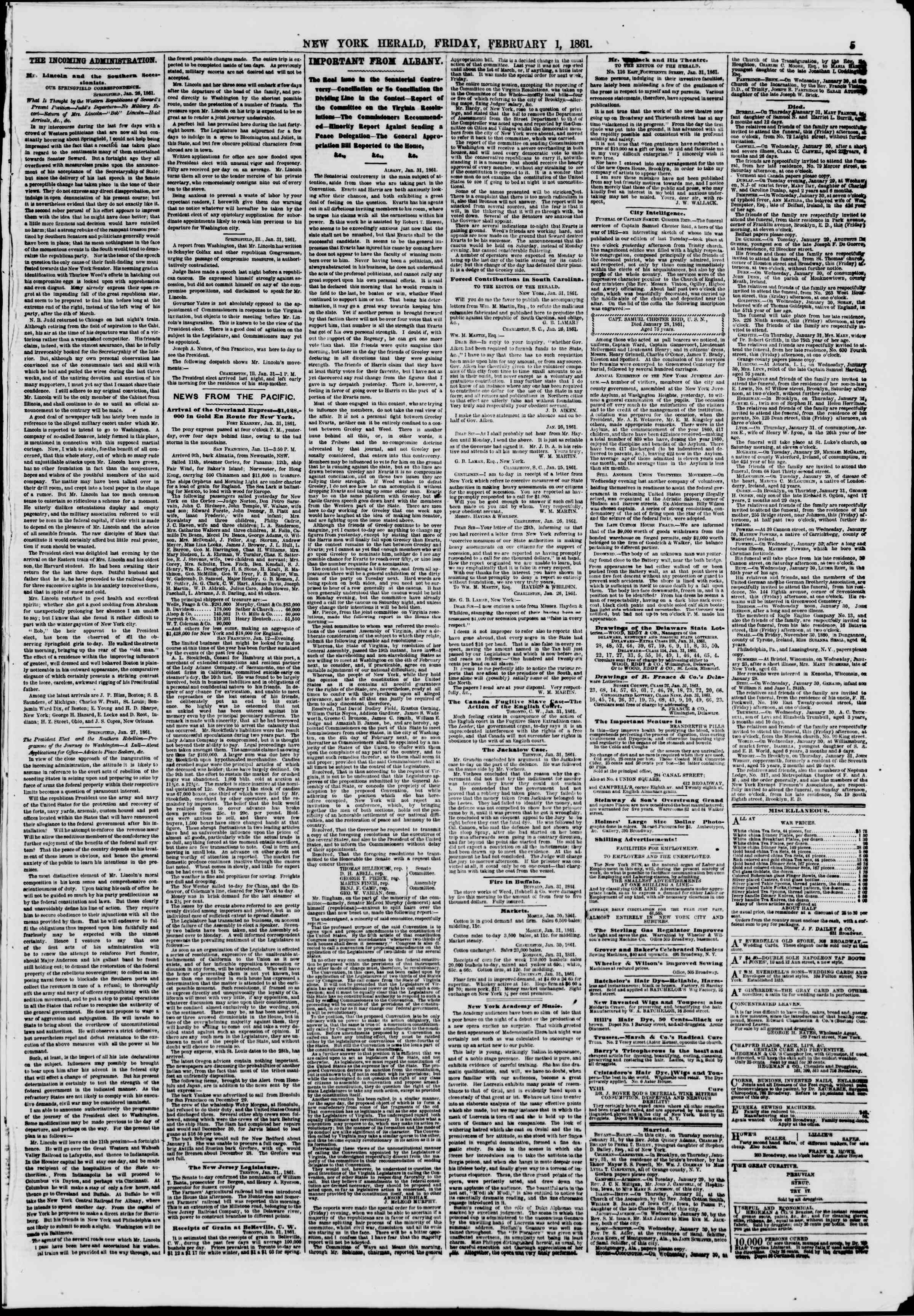 Newspaper of The New York Herald dated February 1, 1861 Page 5