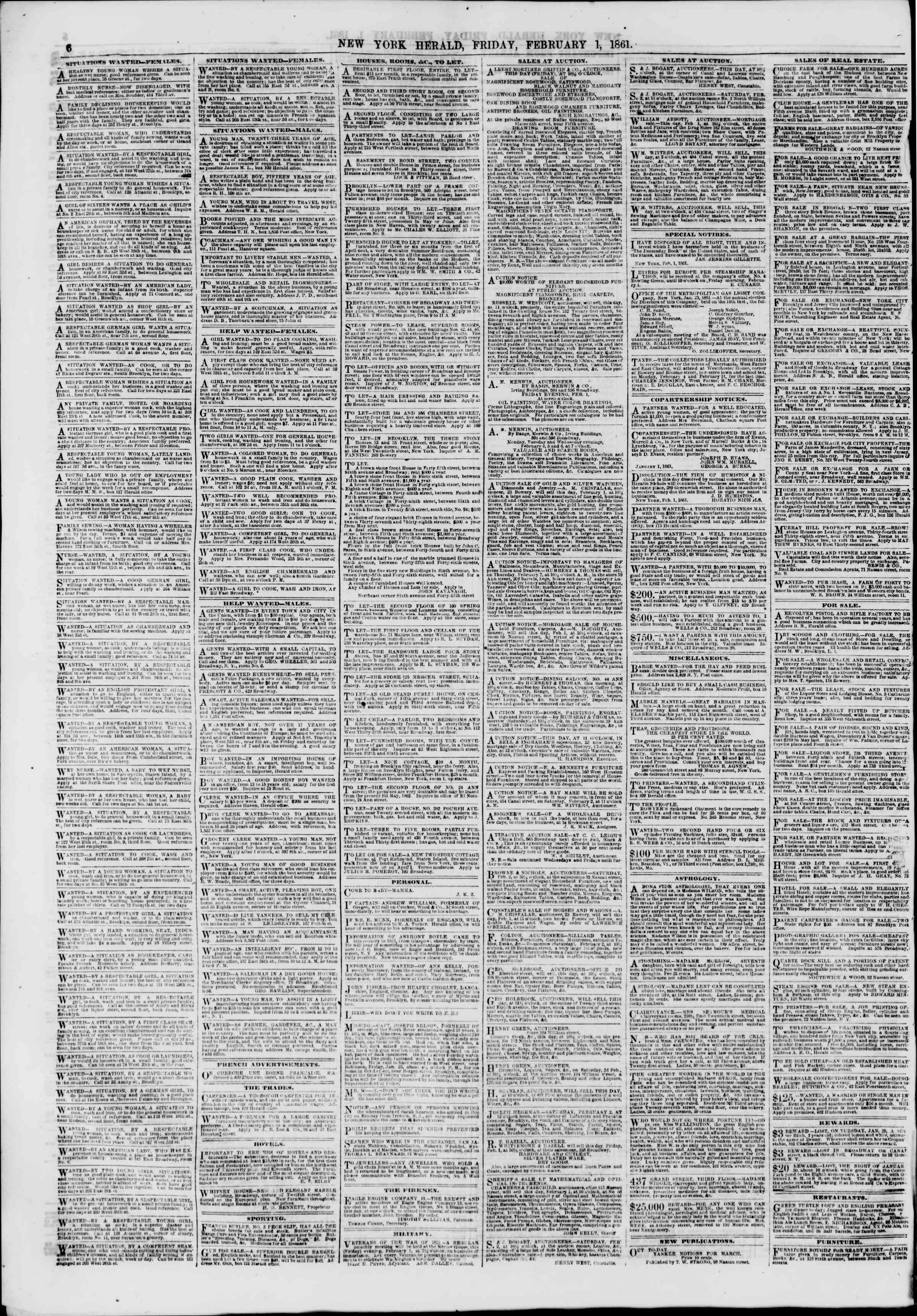 Newspaper of The New York Herald dated February 1, 1861 Page 6