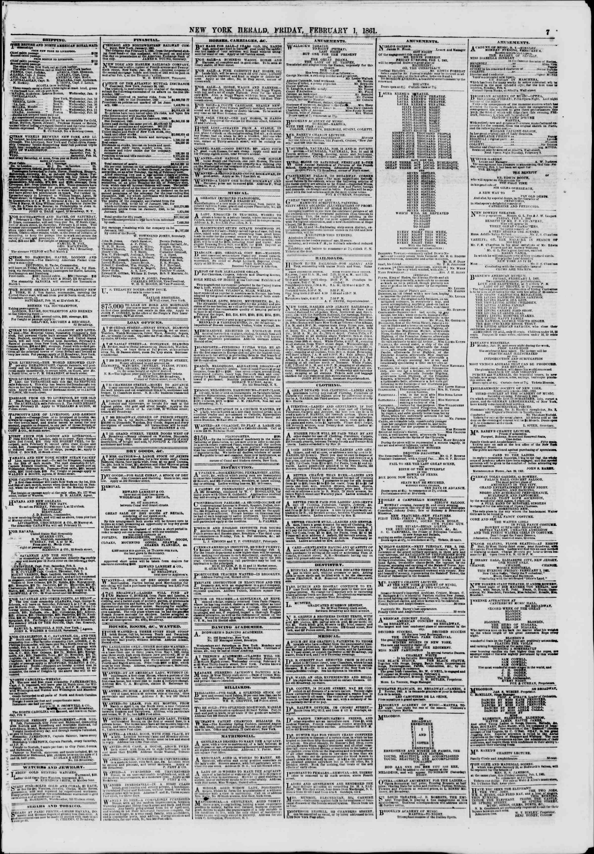 Newspaper of The New York Herald dated February 1, 1861 Page 7