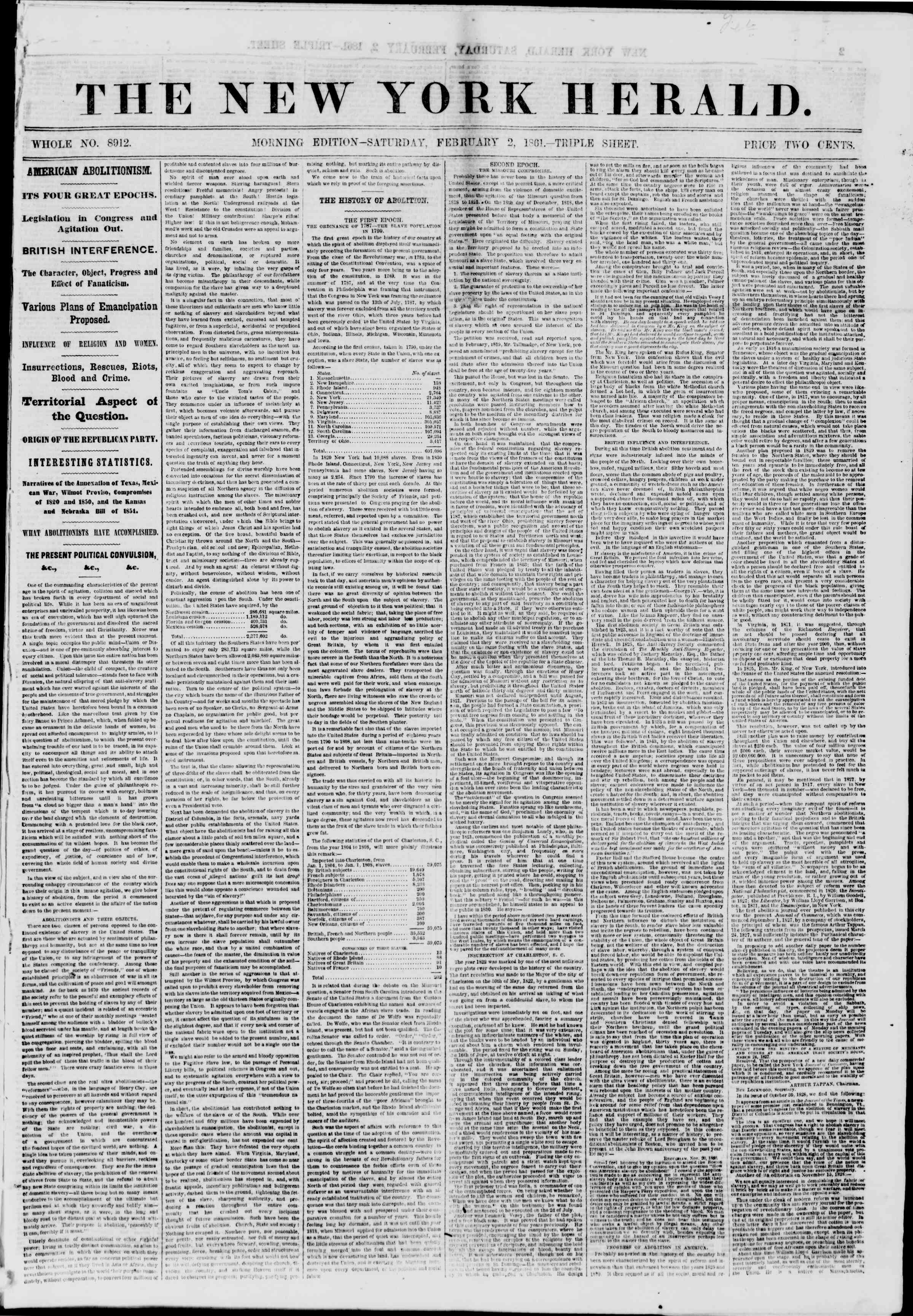 Newspaper of The New York Herald dated February 2, 1861 Page 1