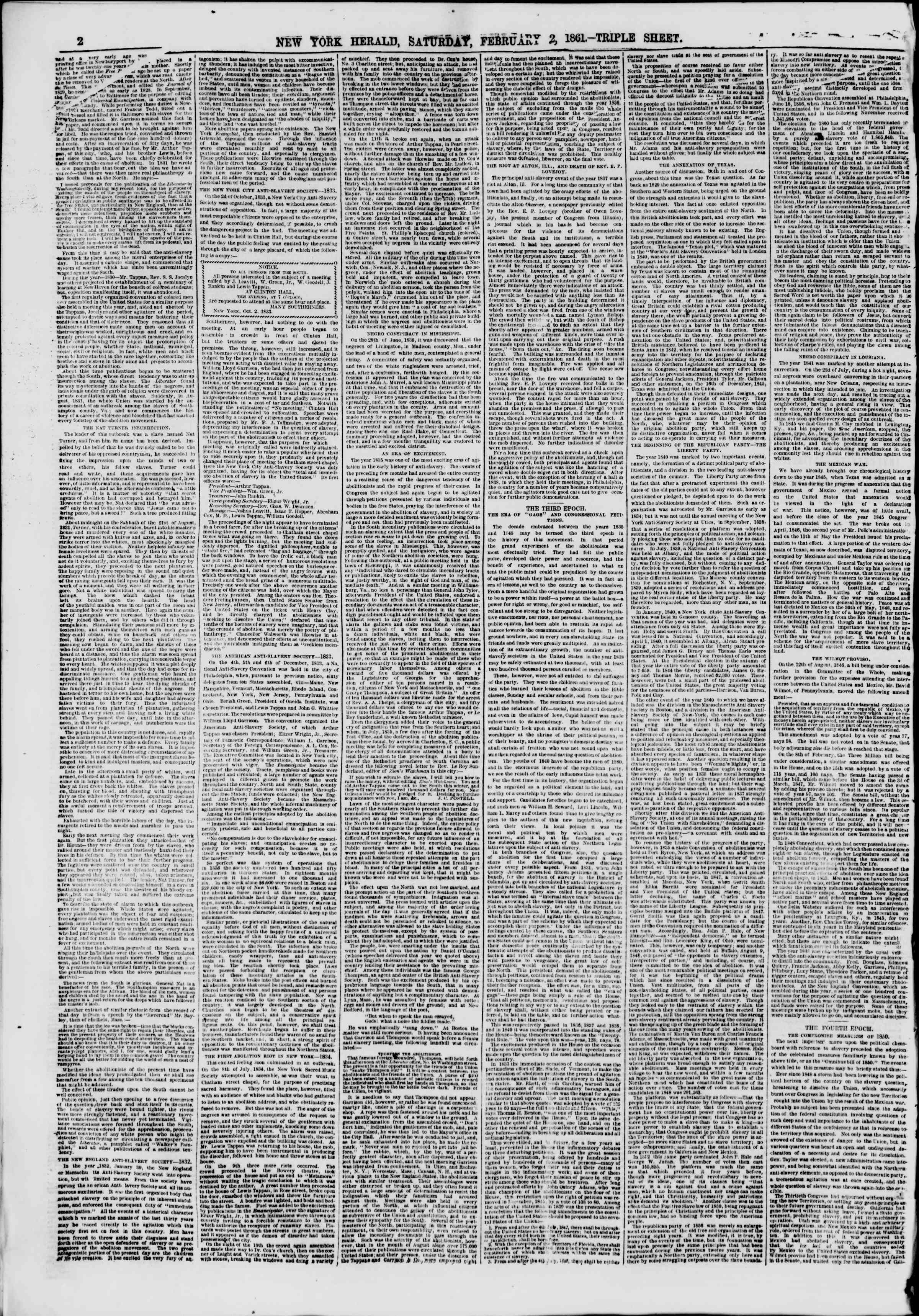Newspaper of The New York Herald dated February 2, 1861 Page 2