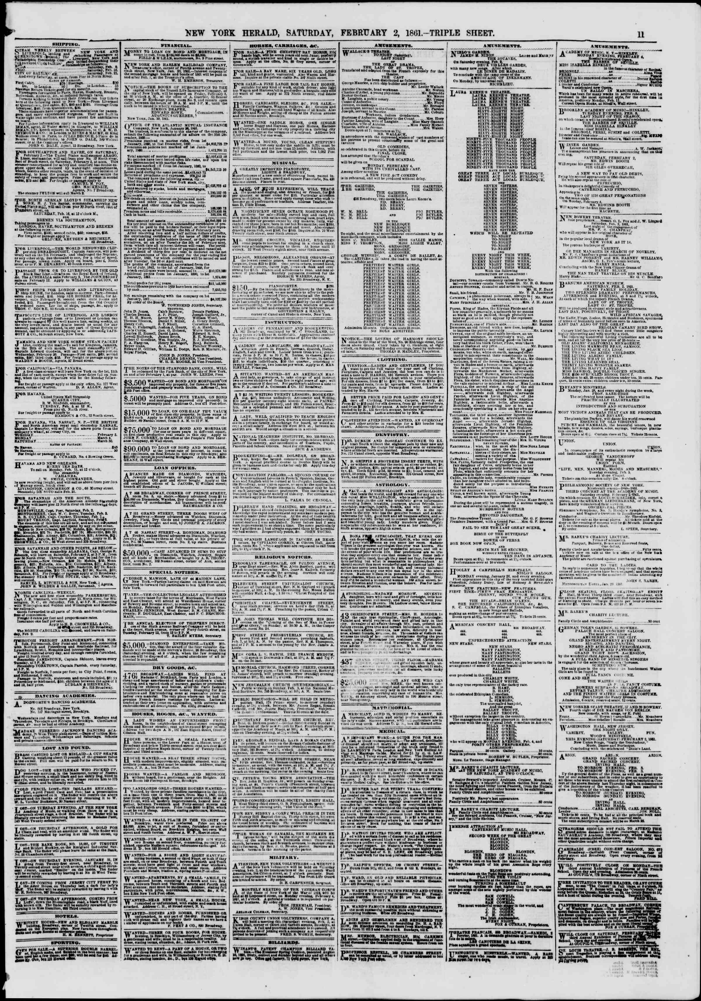 Newspaper of The New York Herald dated February 2, 1861 Page 11