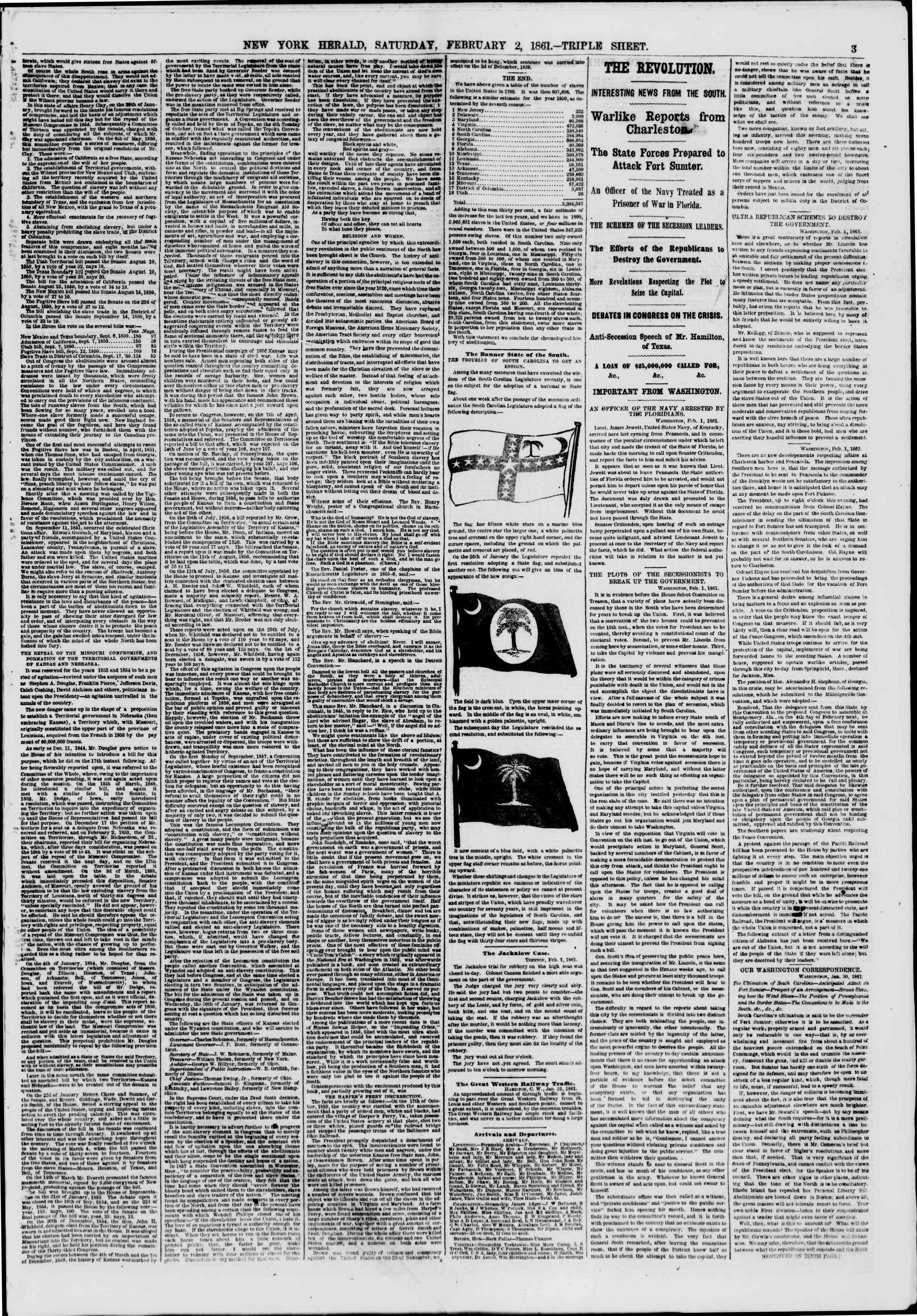 Newspaper of The New York Herald dated February 2, 1861 Page 3
