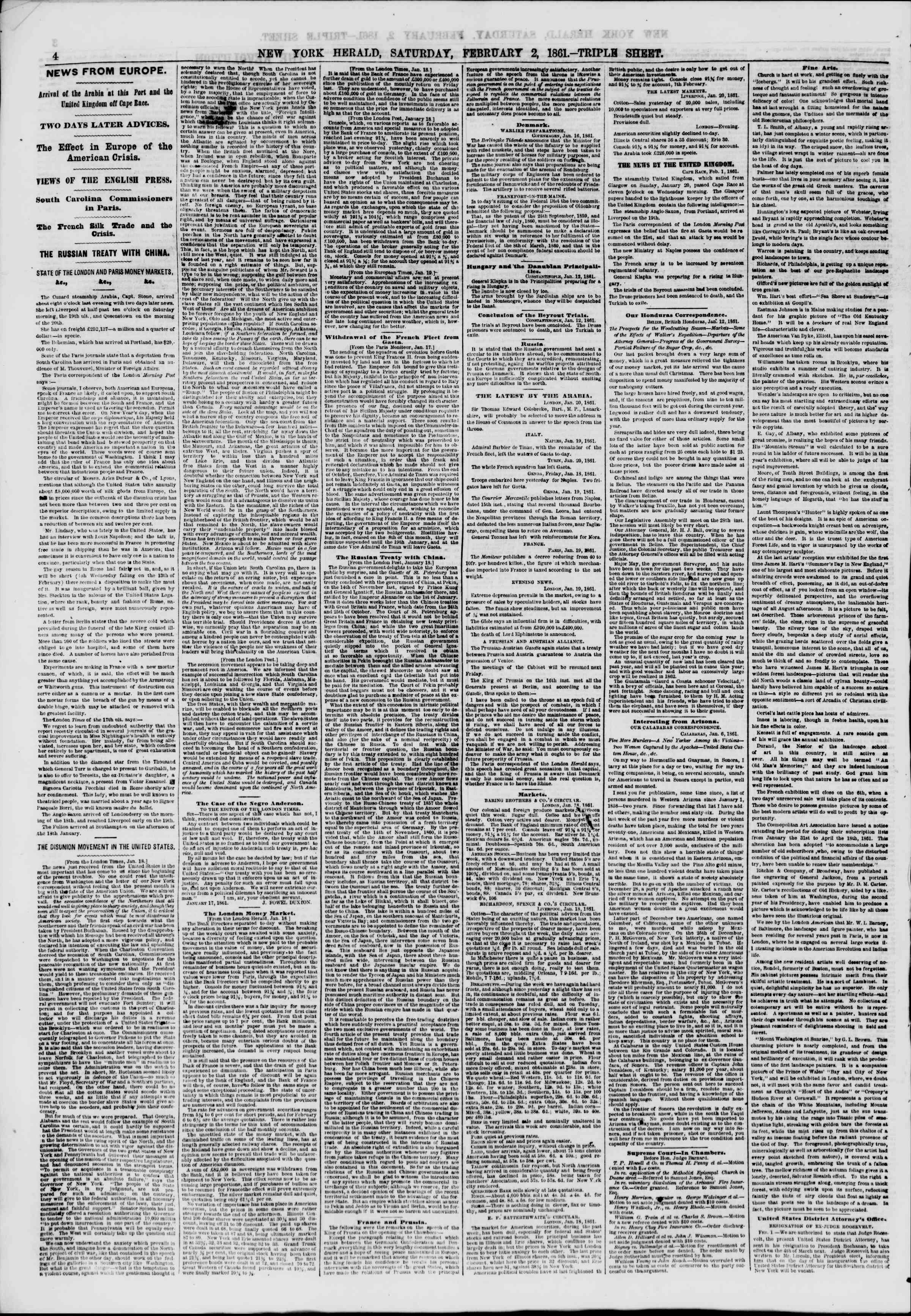 Newspaper of The New York Herald dated February 2, 1861 Page 4