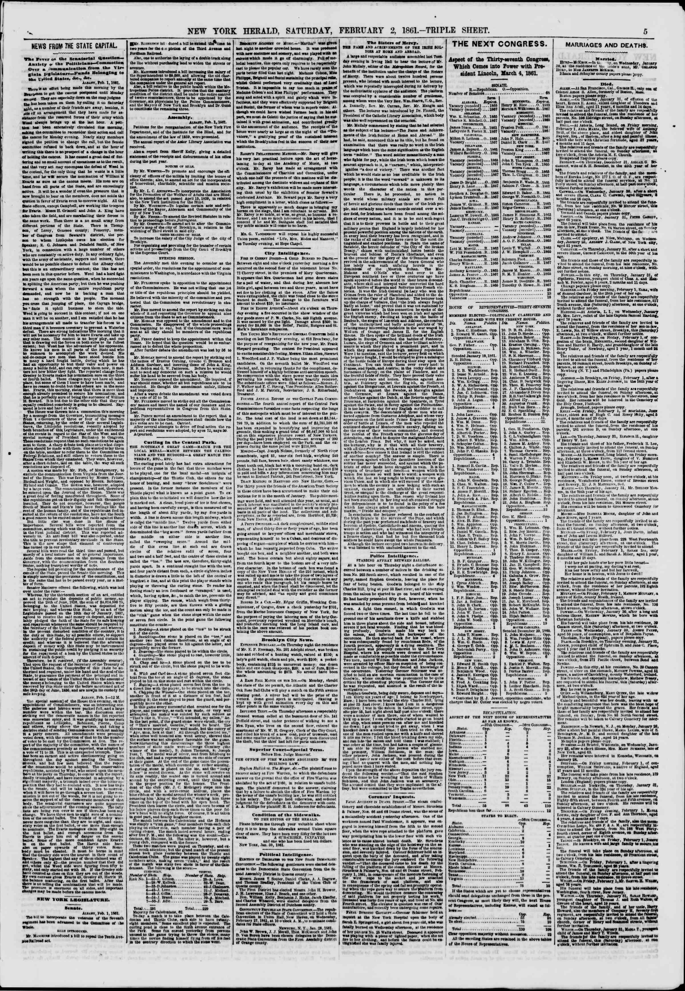 Newspaper of The New York Herald dated February 2, 1861 Page 5