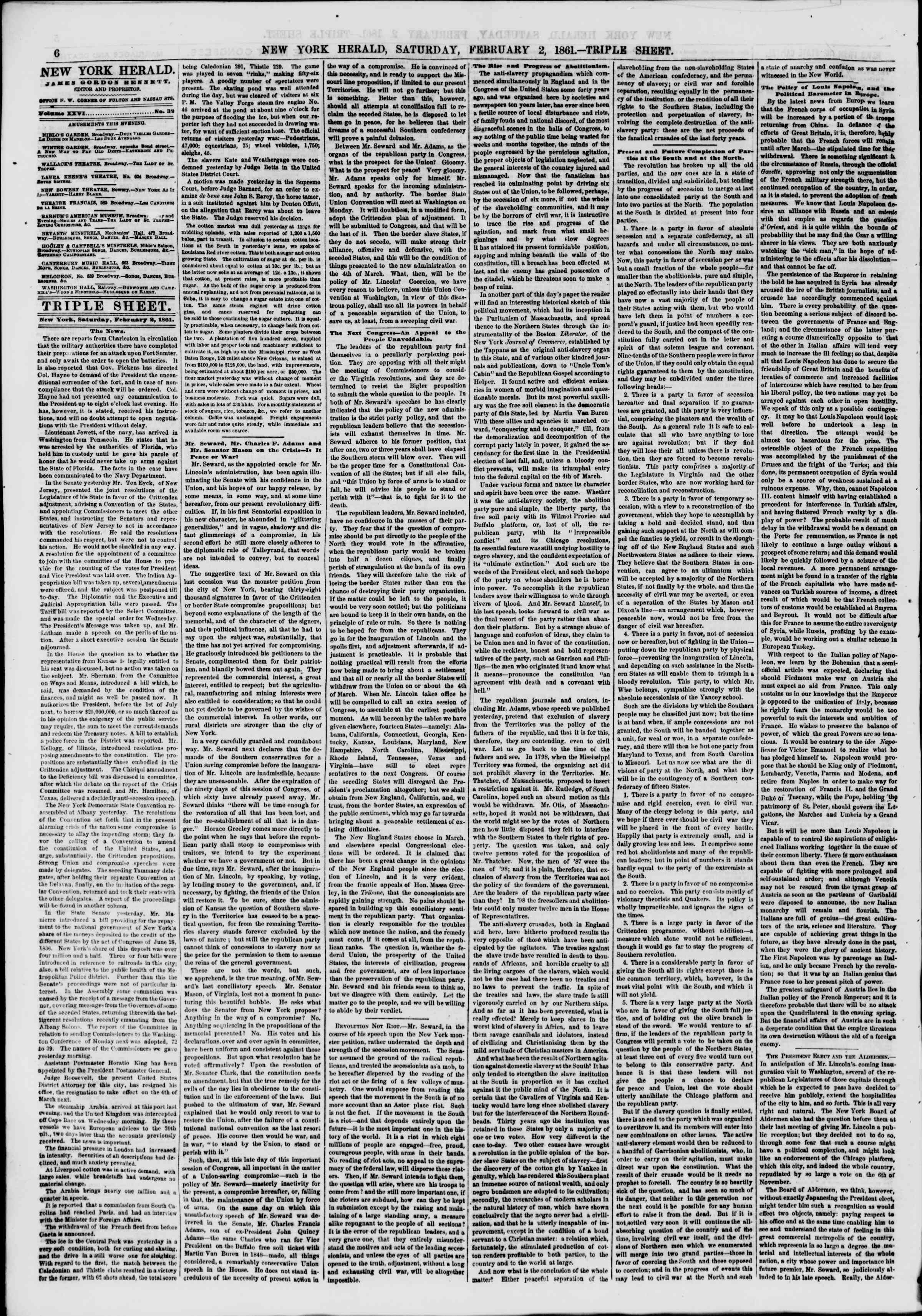 Newspaper of The New York Herald dated February 2, 1861 Page 6