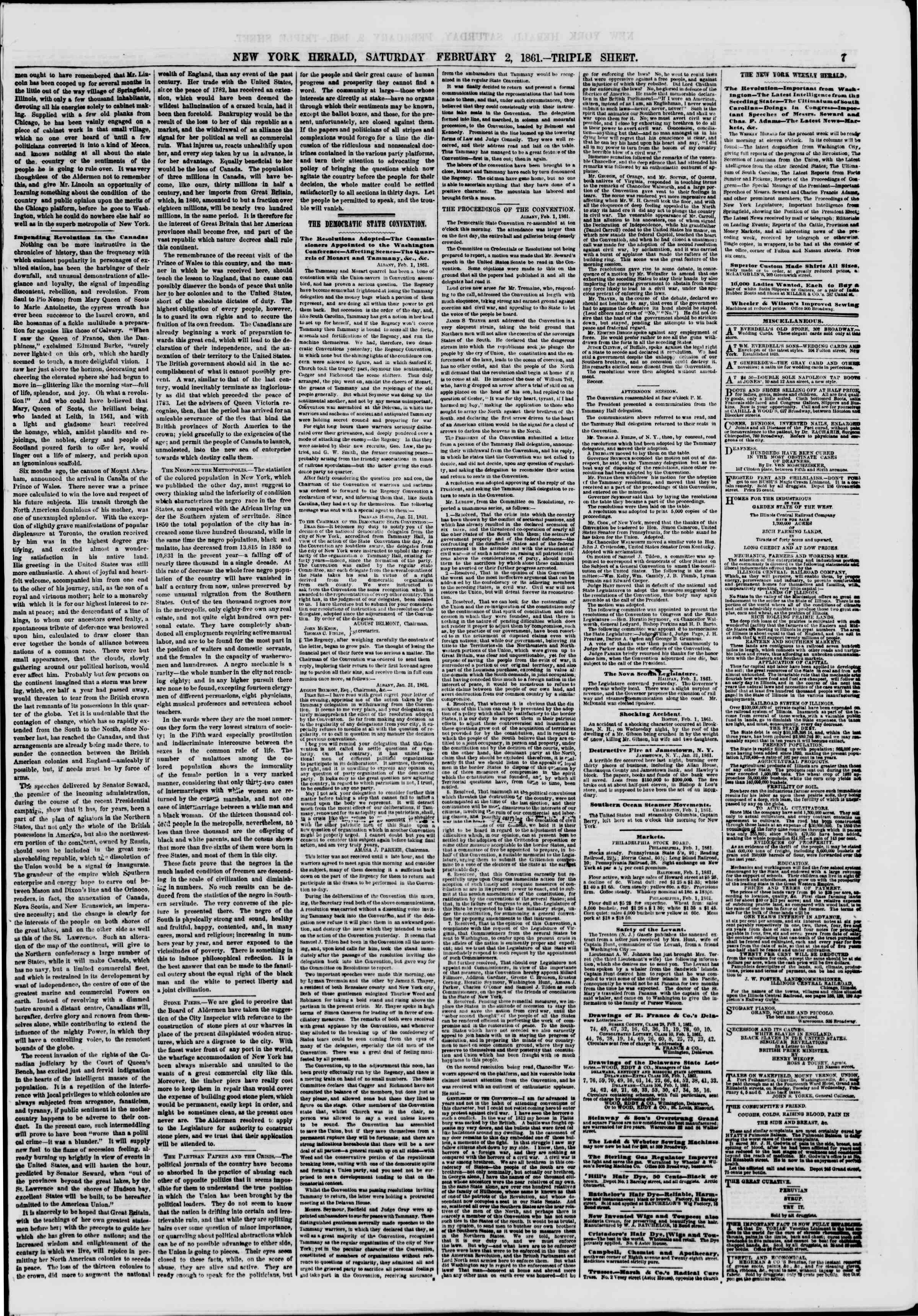 Newspaper of The New York Herald dated February 2, 1861 Page 7