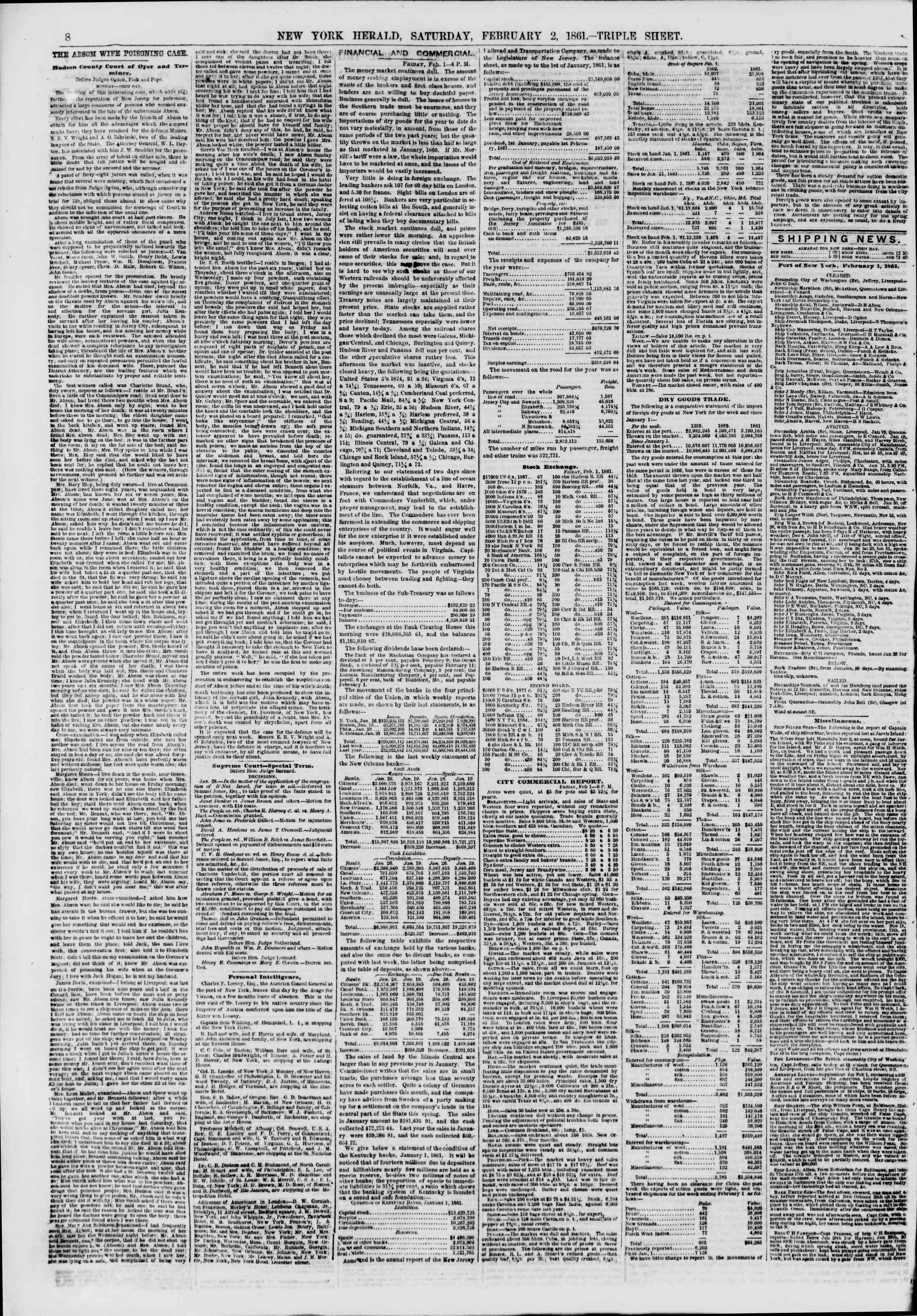Newspaper of The New York Herald dated February 2, 1861 Page 8