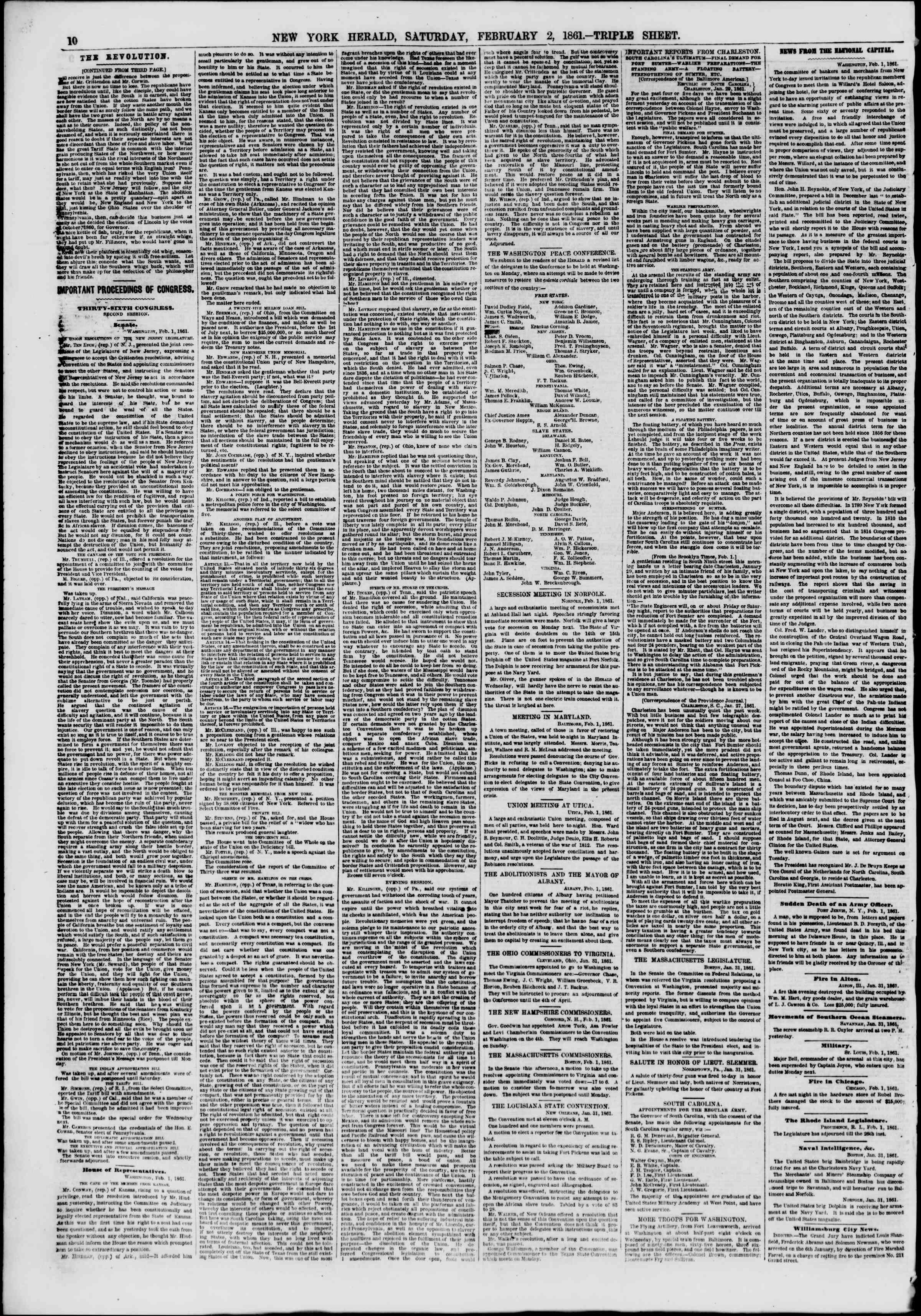 Newspaper of The New York Herald dated February 2, 1861 Page 10