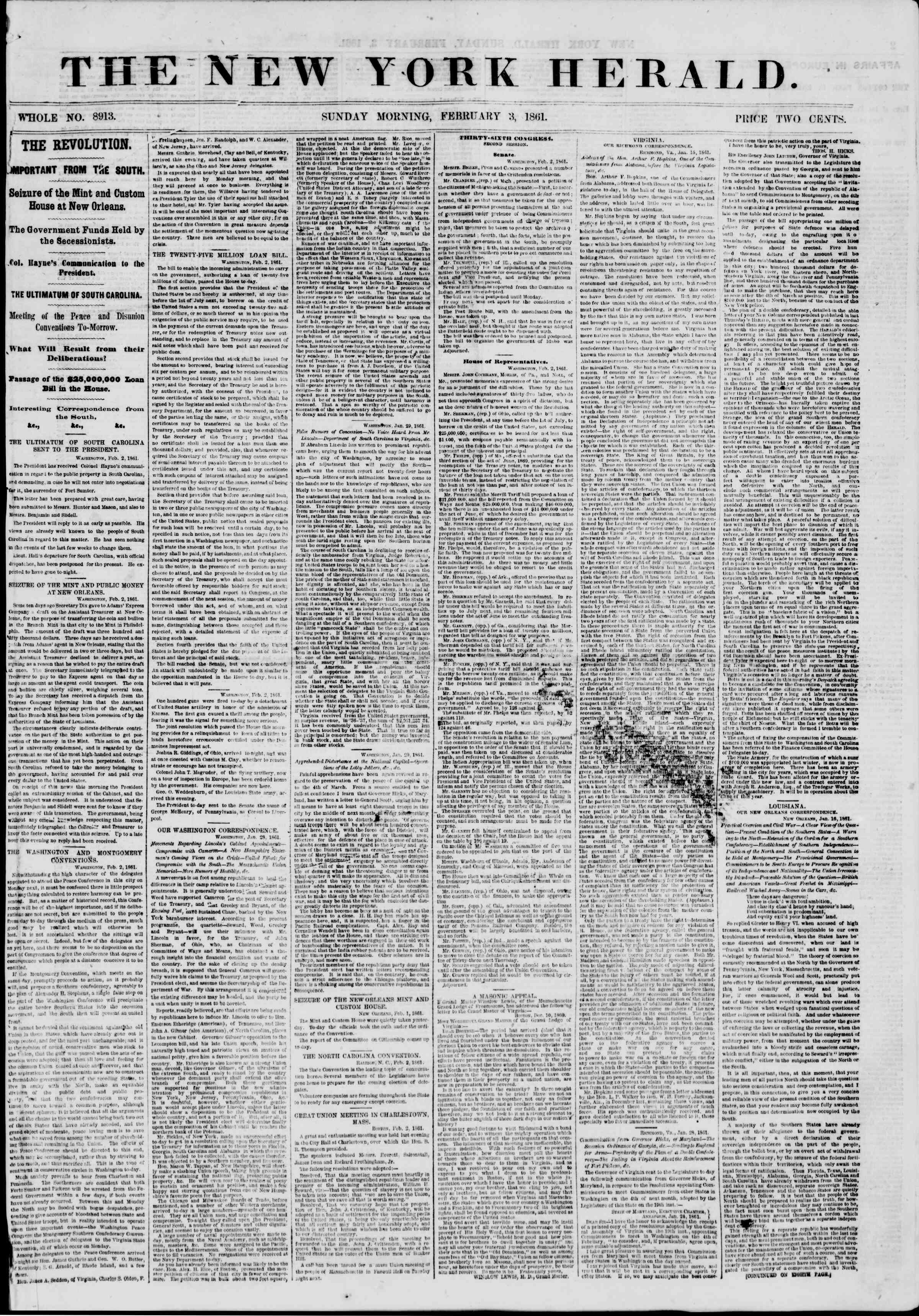 Newspaper of The New York Herald dated February 3, 1861 Page 1