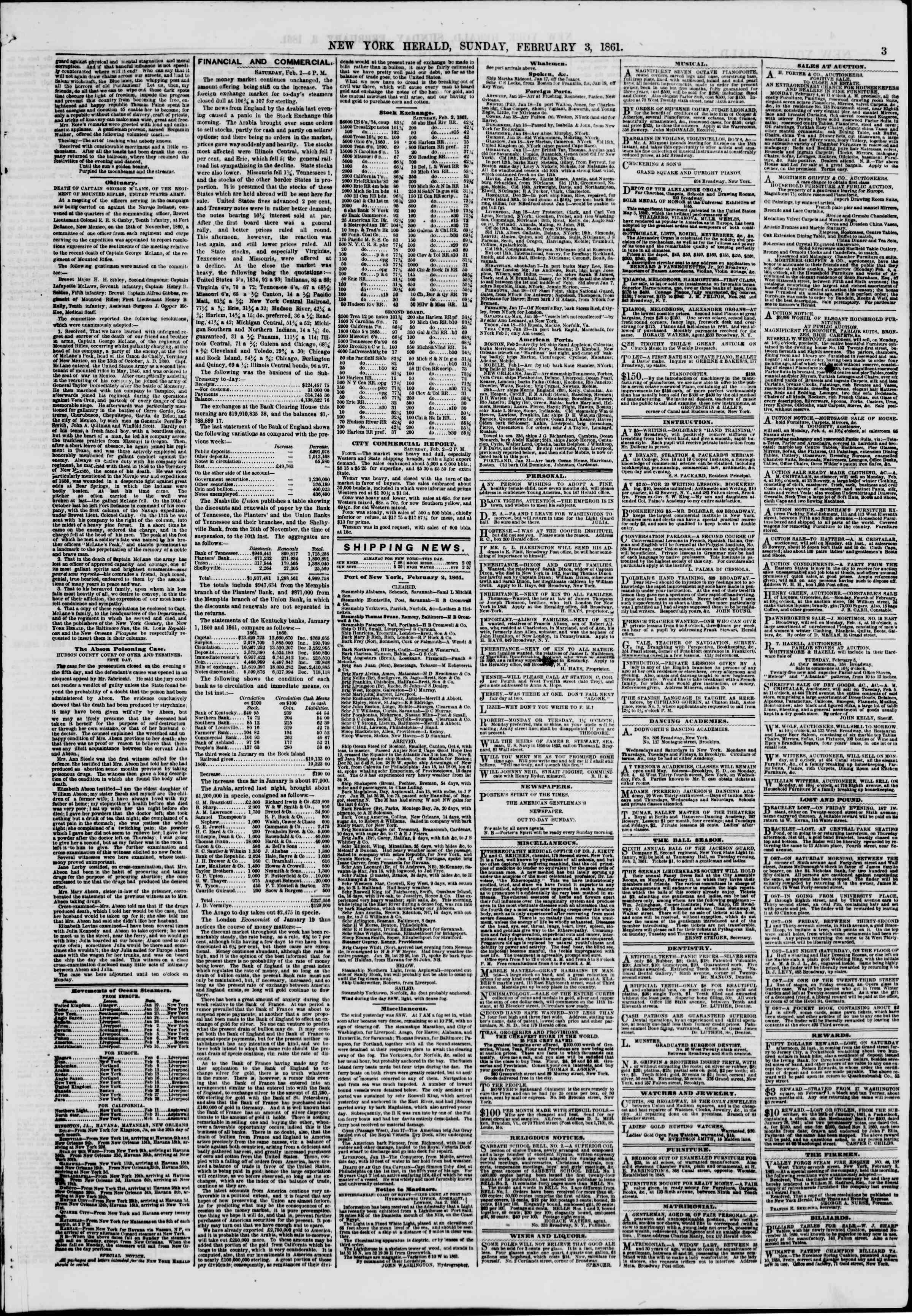3 Şubat 1861 tarihli The New York Herald Gazetesi Sayfa 3