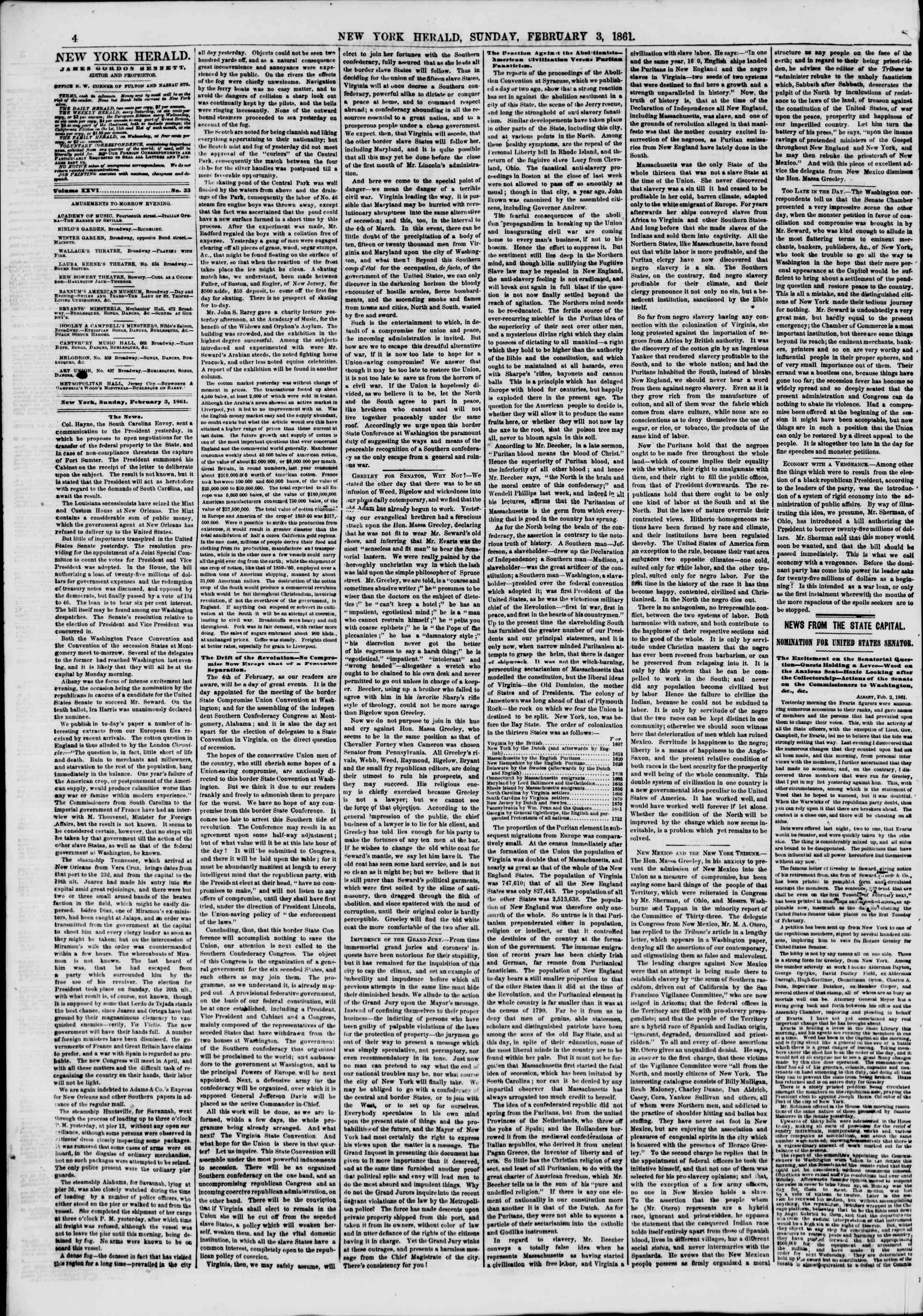 Newspaper of The New York Herald dated February 3, 1861 Page 4
