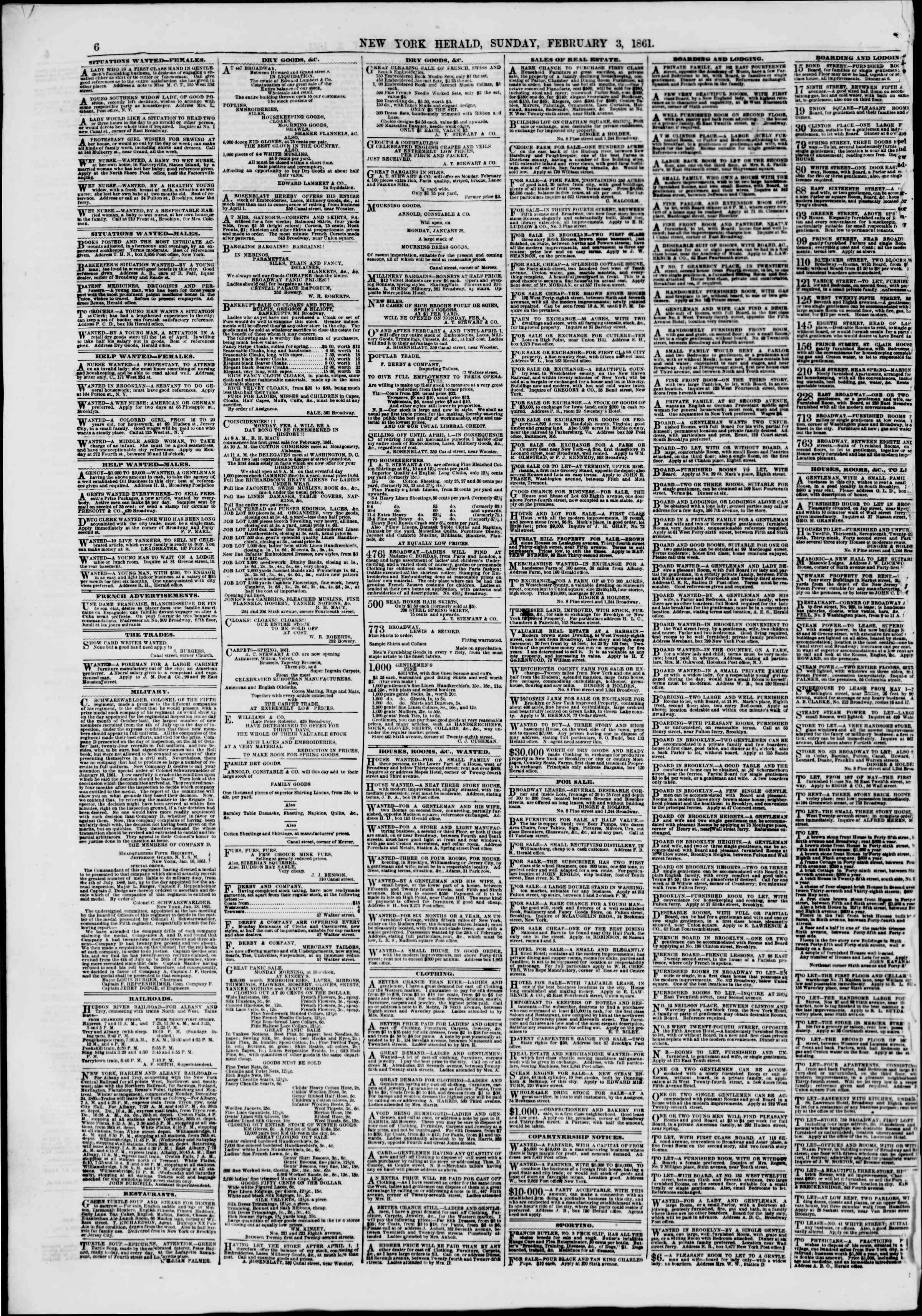 Newspaper of The New York Herald dated February 3, 1861 Page 6