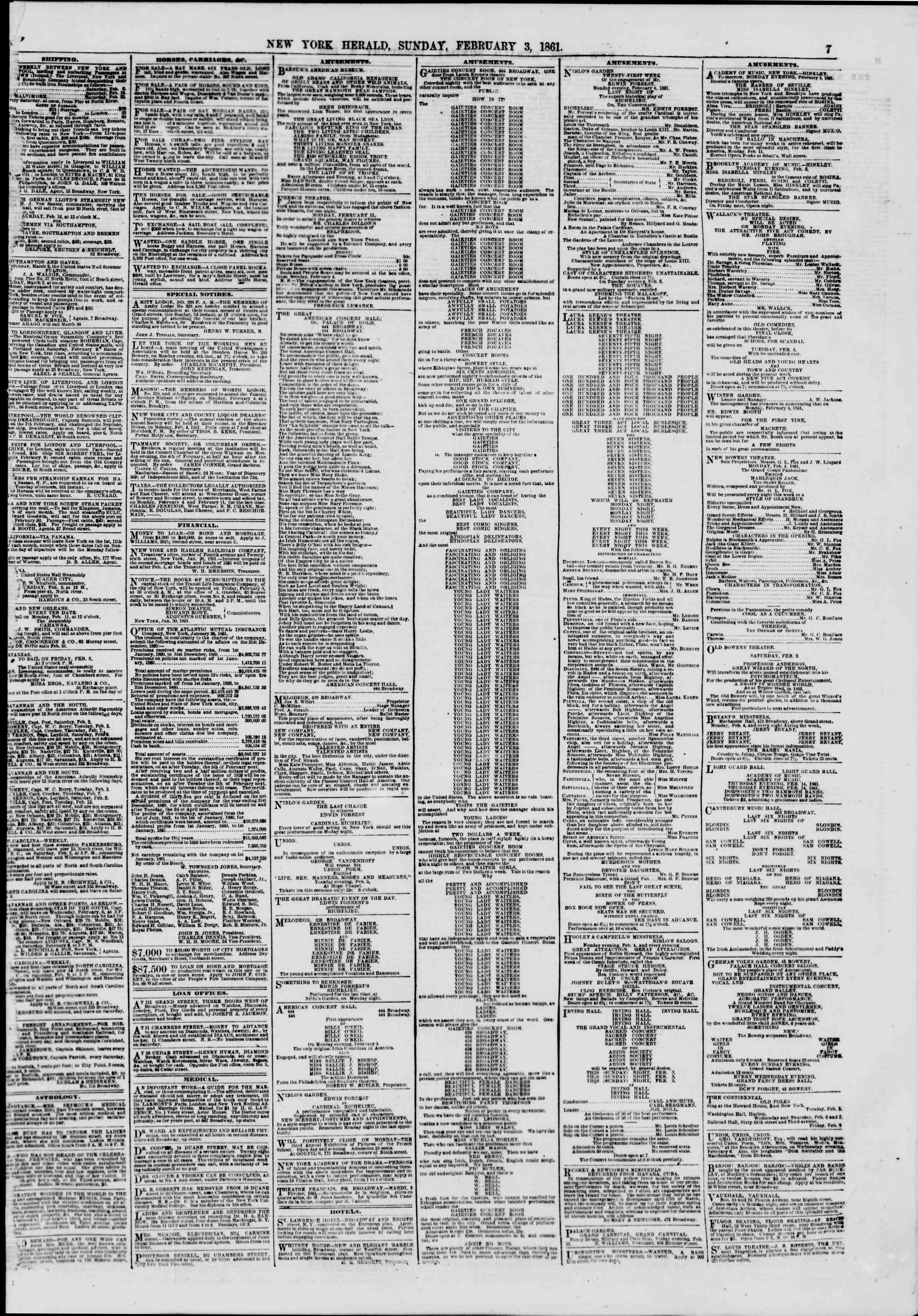 Newspaper of The New York Herald dated February 3, 1861 Page 7