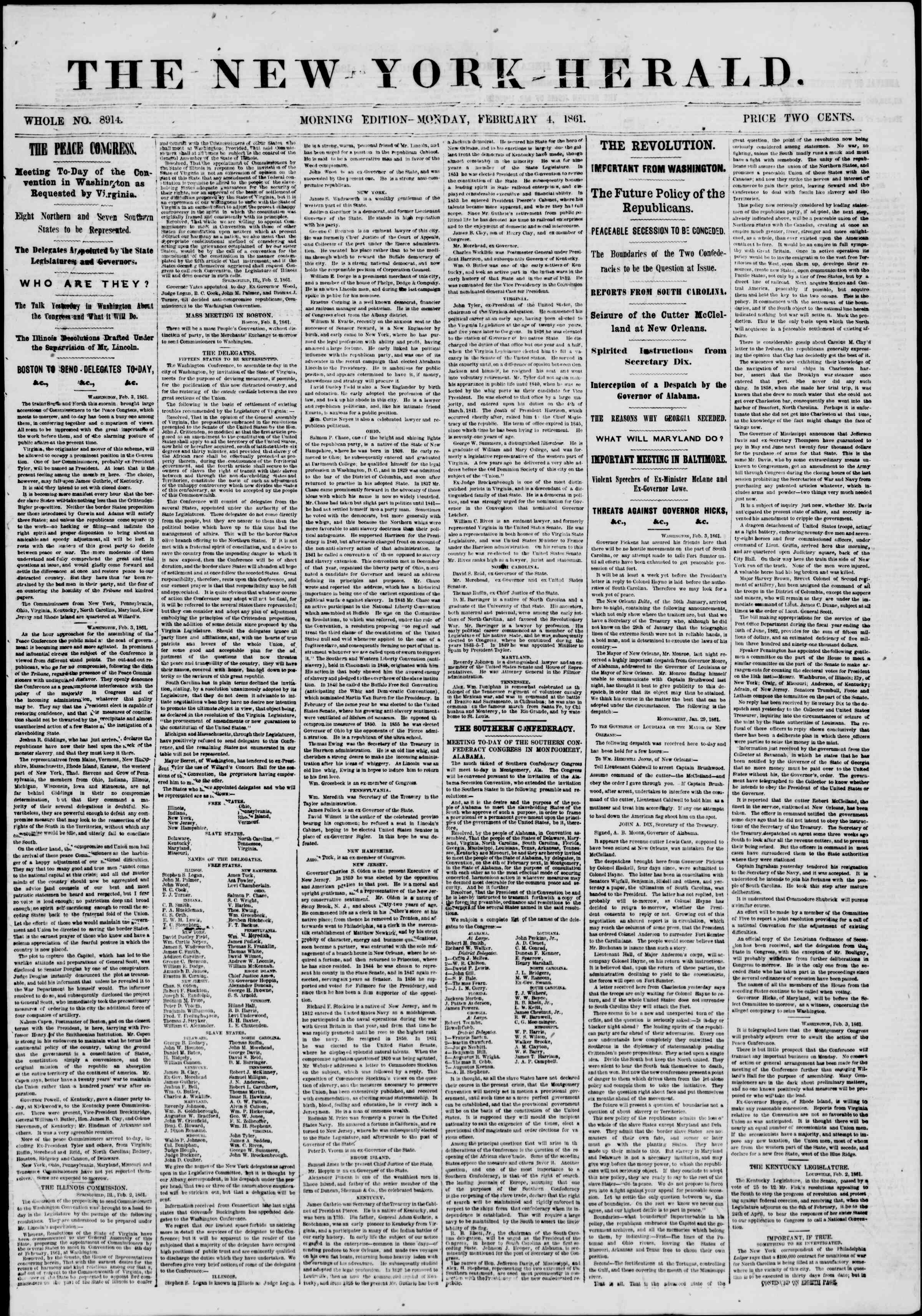 Newspaper of The New York Herald dated February 4, 1861 Page 1