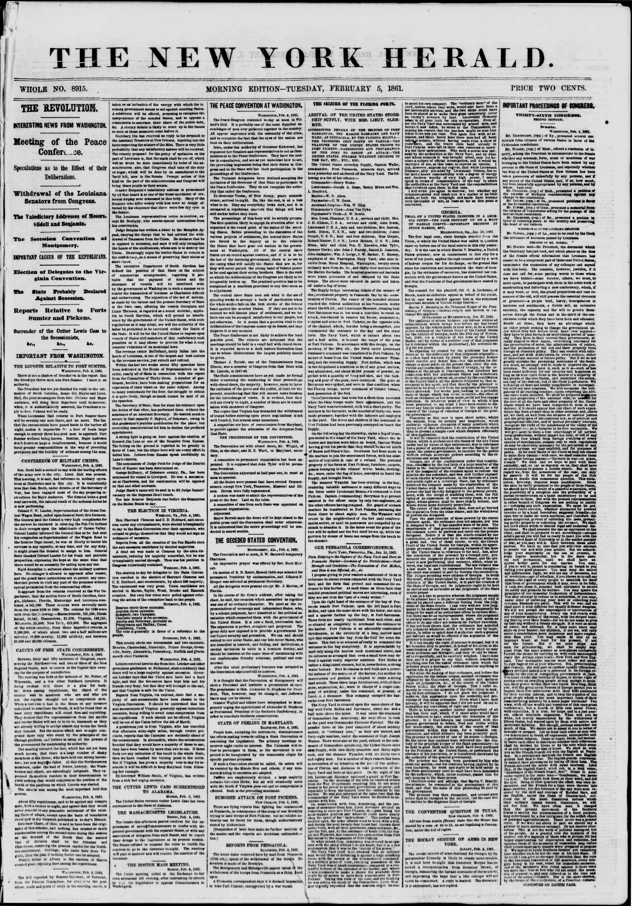 Newspaper of The New York Herald dated February 5, 1861 Page 1