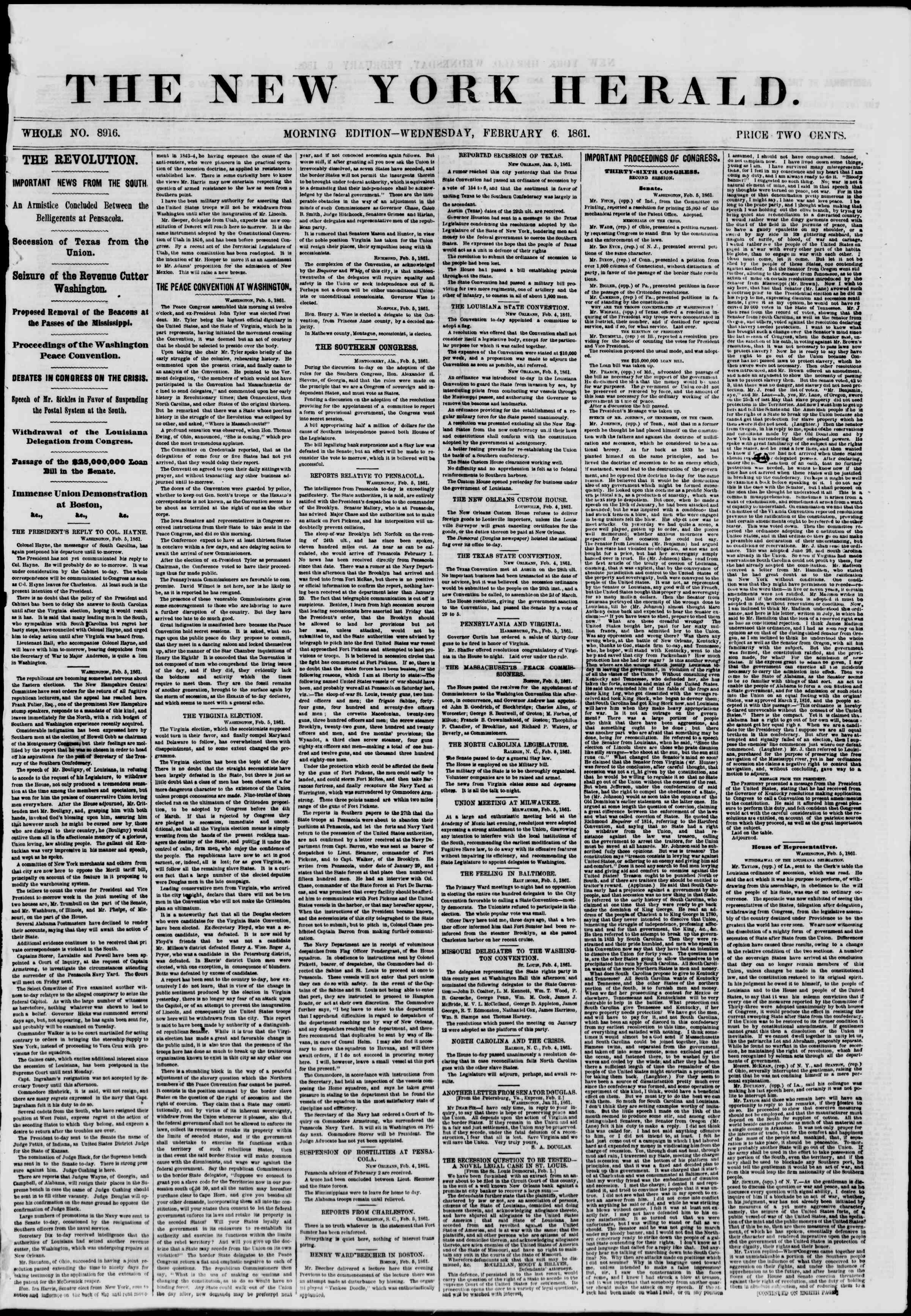 6 Şubat 1861 tarihli The New York Herald Gazetesi Sayfa 1