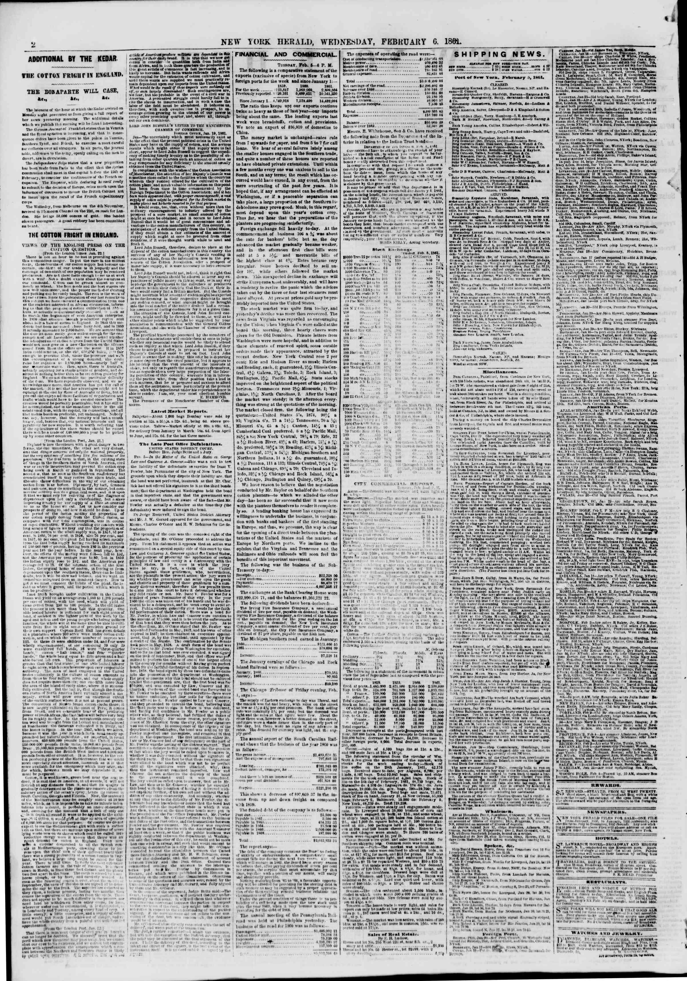 Newspaper of The New York Herald dated February 6, 1861 Page 2