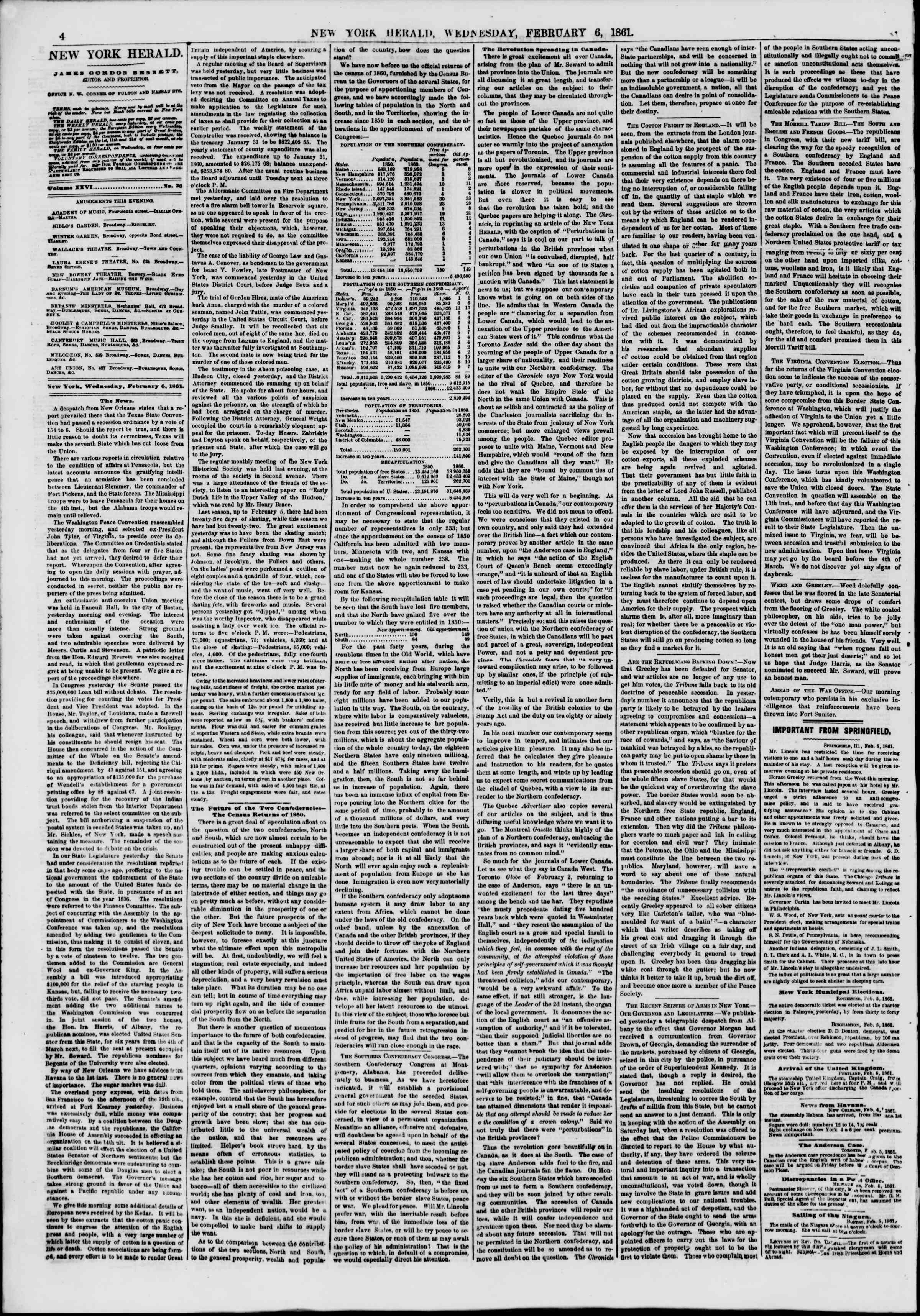 Newspaper of The New York Herald dated February 6, 1861 Page 4