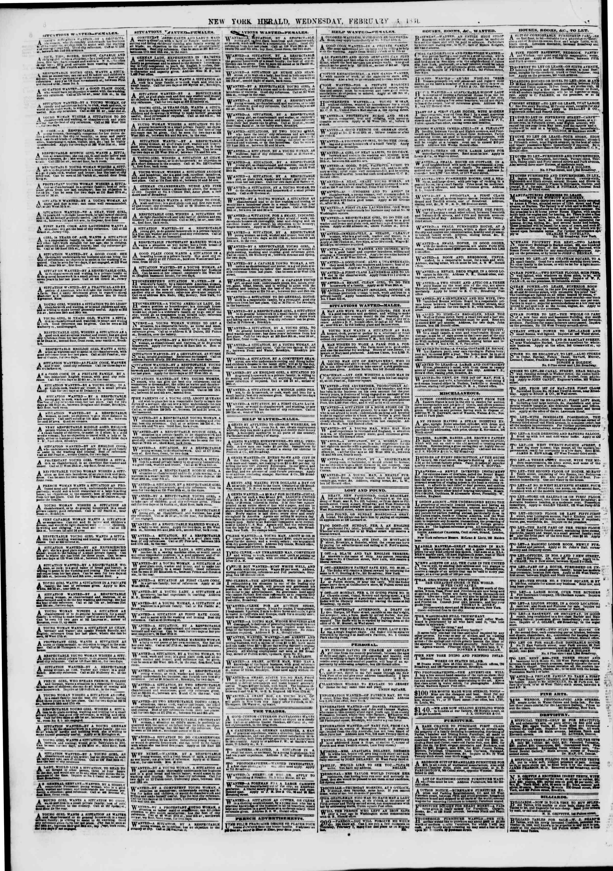 Newspaper of The New York Herald dated February 6, 1861 Page 6