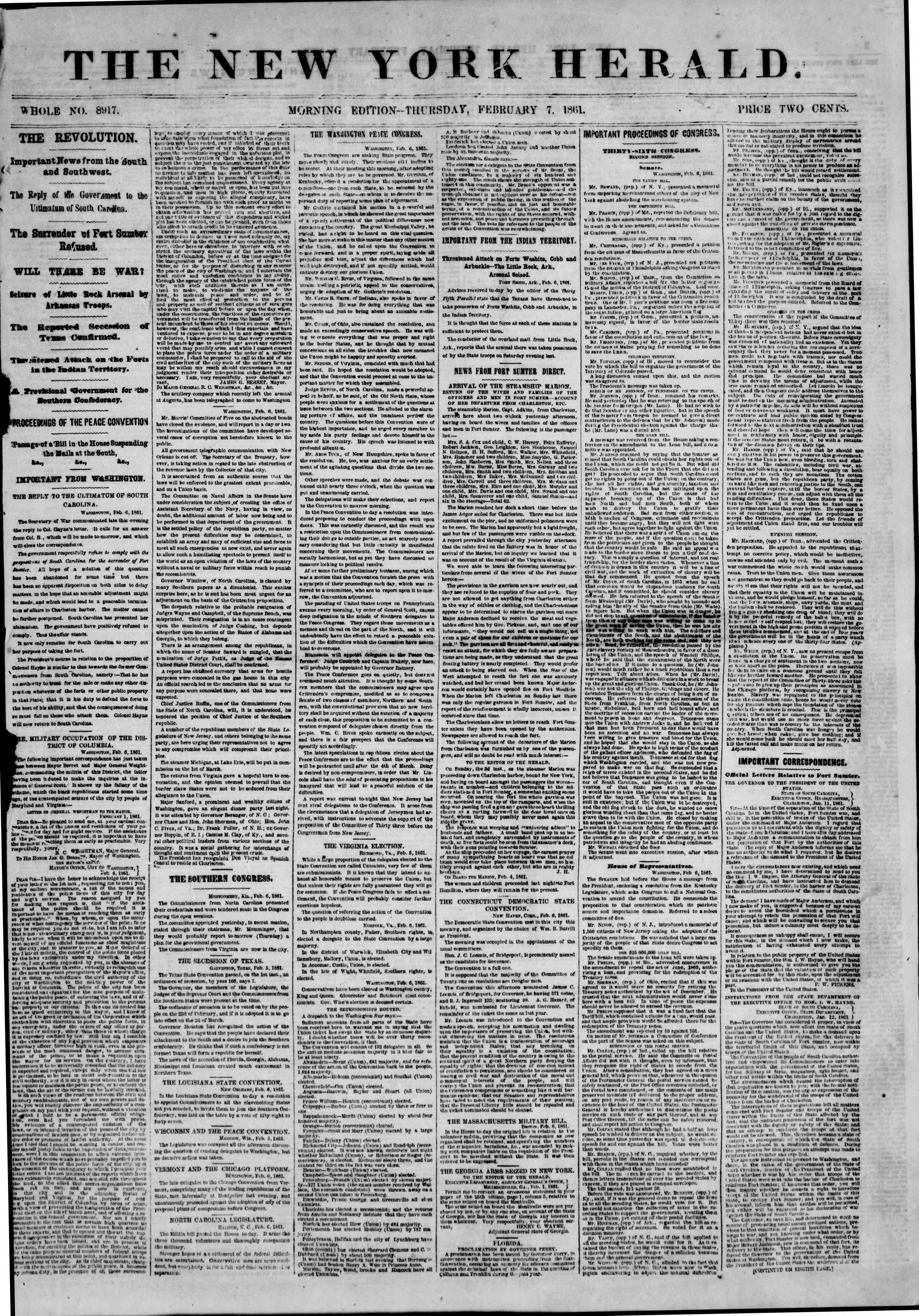 Newspaper of The New York Herald dated February 7, 1861 Page 1