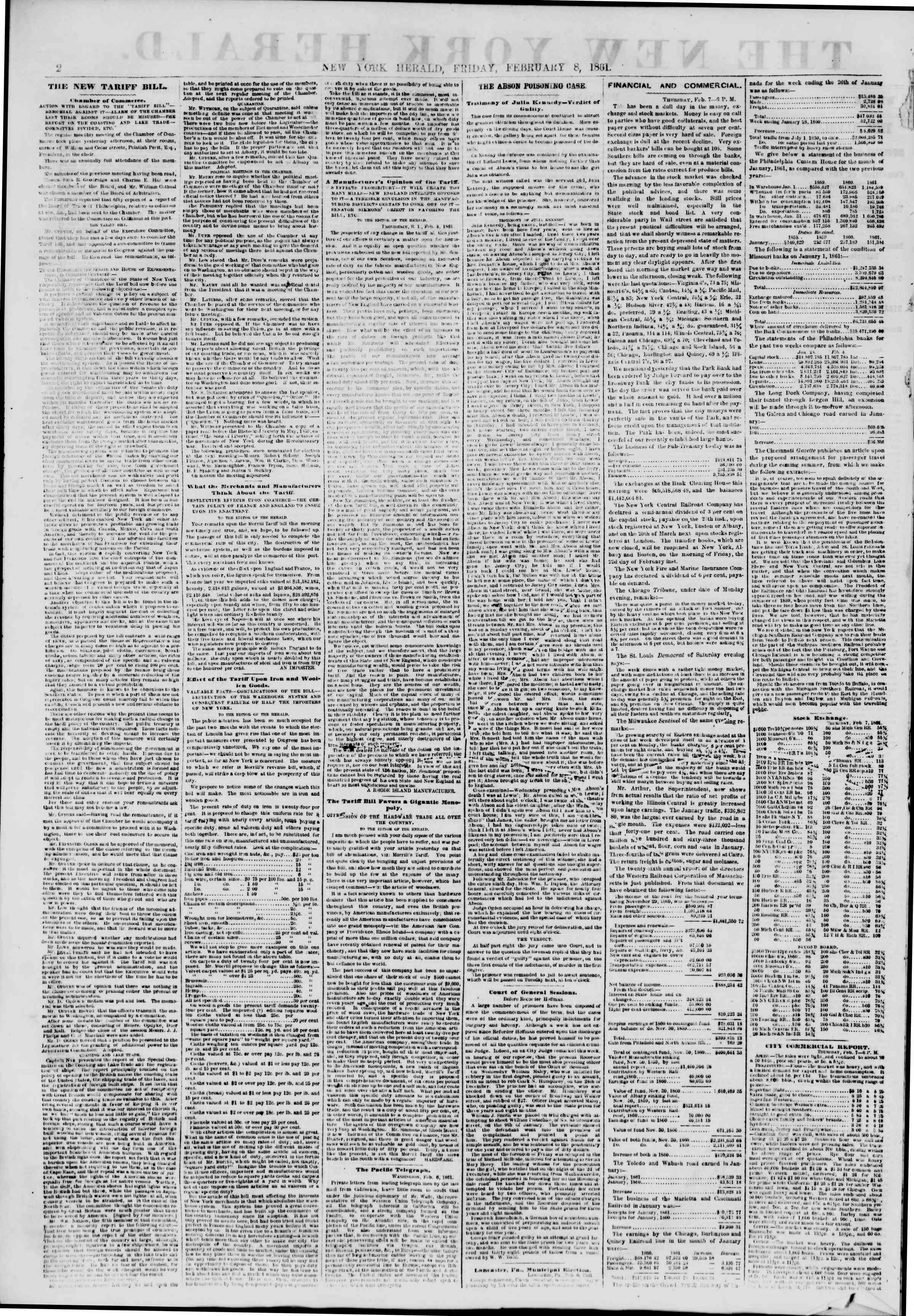 Newspaper of The New York Herald dated February 8, 1861 Page 2