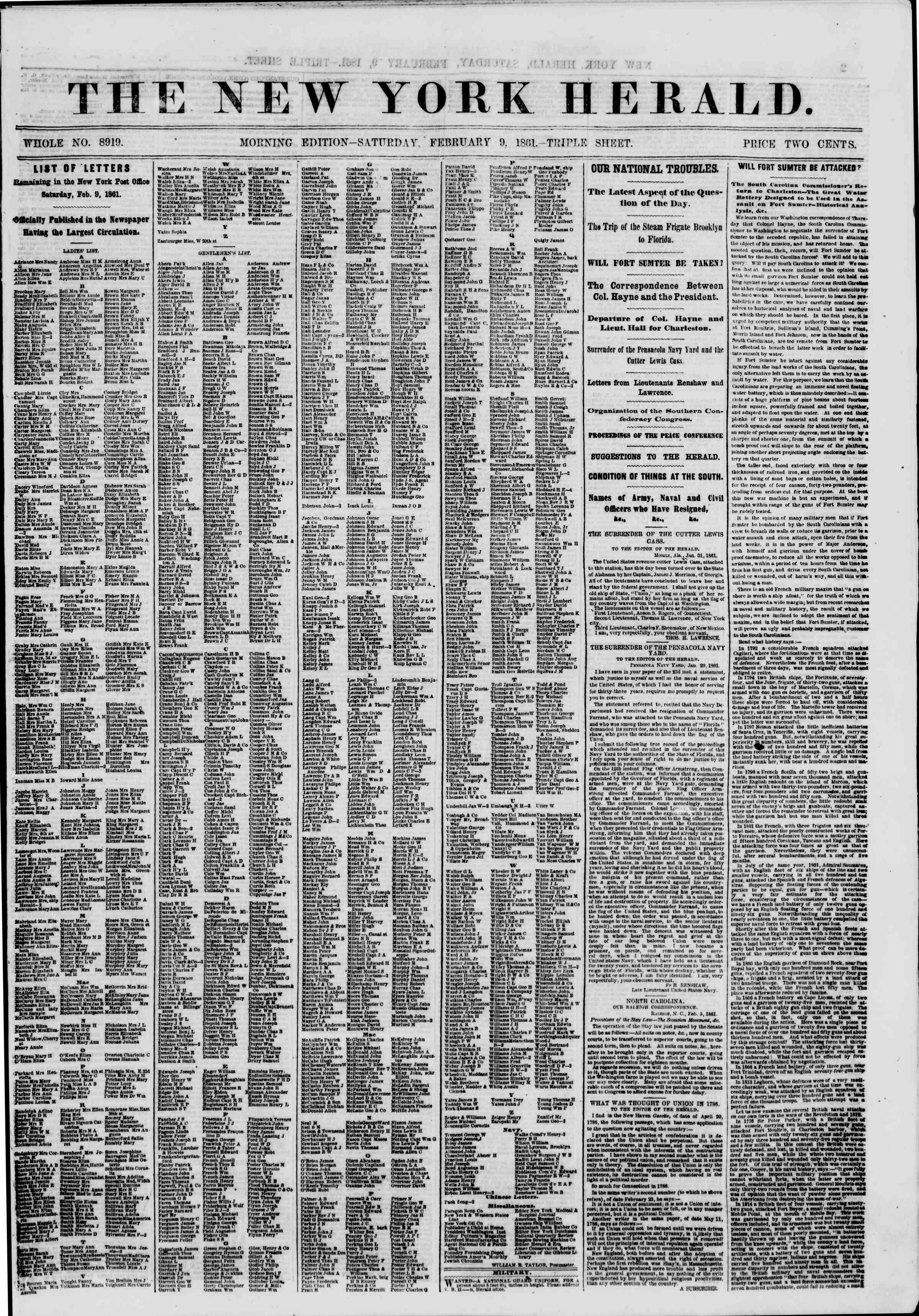 Newspaper of The New York Herald dated February 9, 1861 Page 1