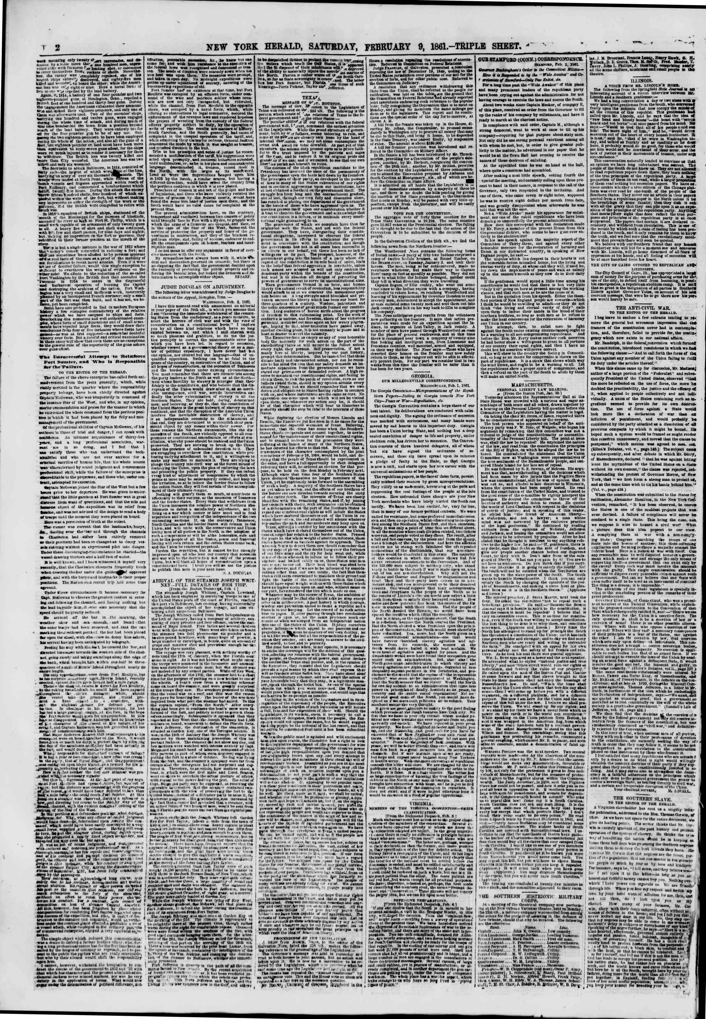 Newspaper of The New York Herald dated February 9, 1861 Page 2