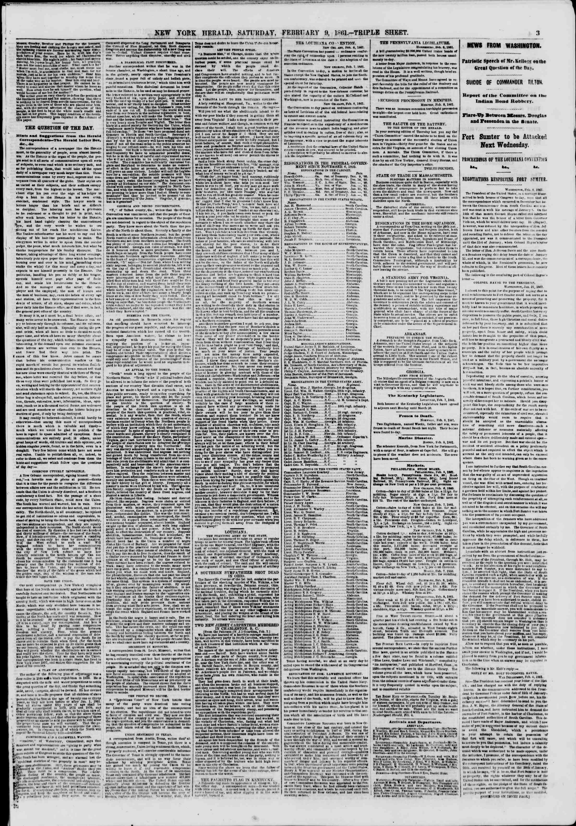 Newspaper of The New York Herald dated February 9, 1861 Page 3