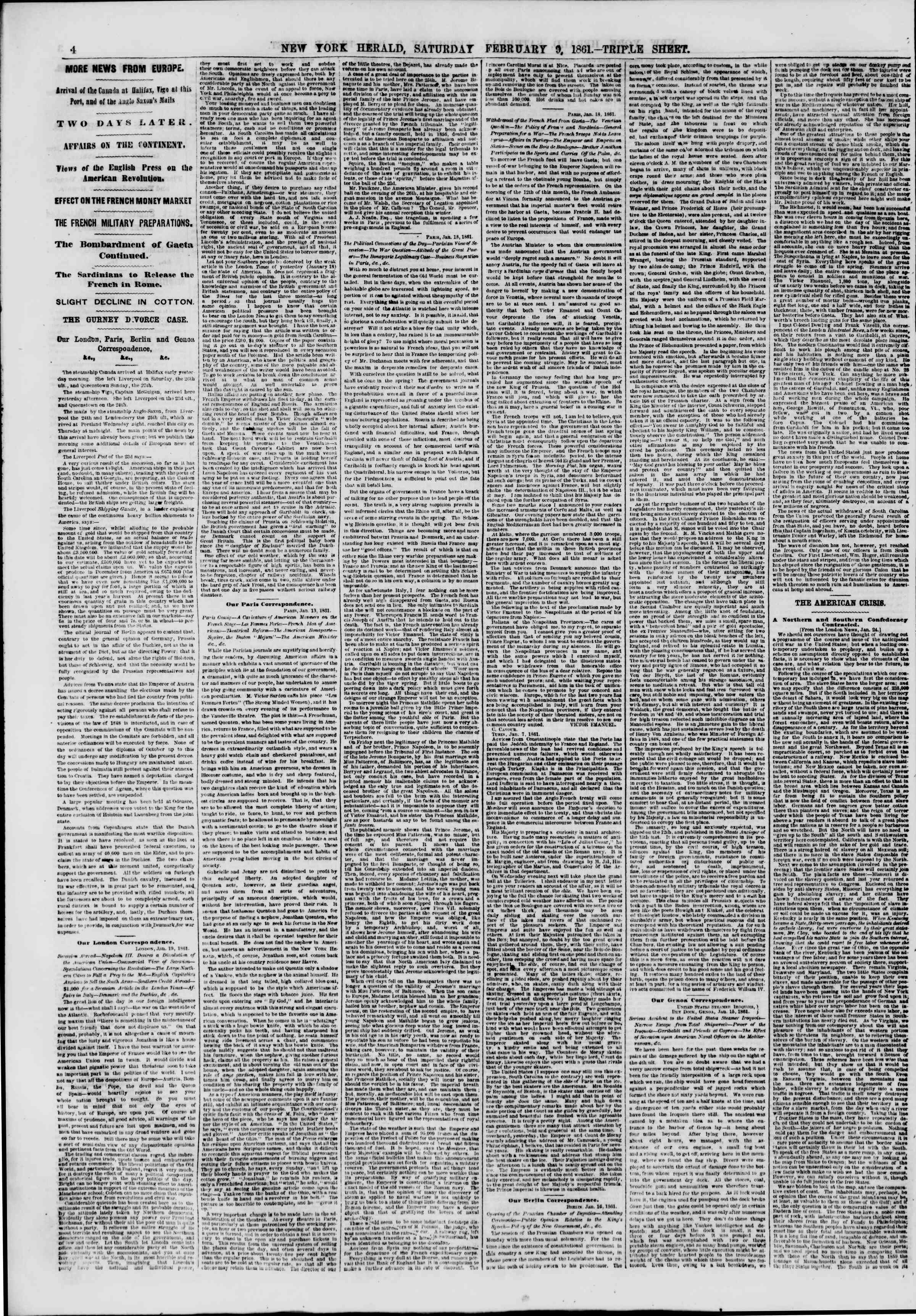 Newspaper of The New York Herald dated February 9, 1861 Page 4