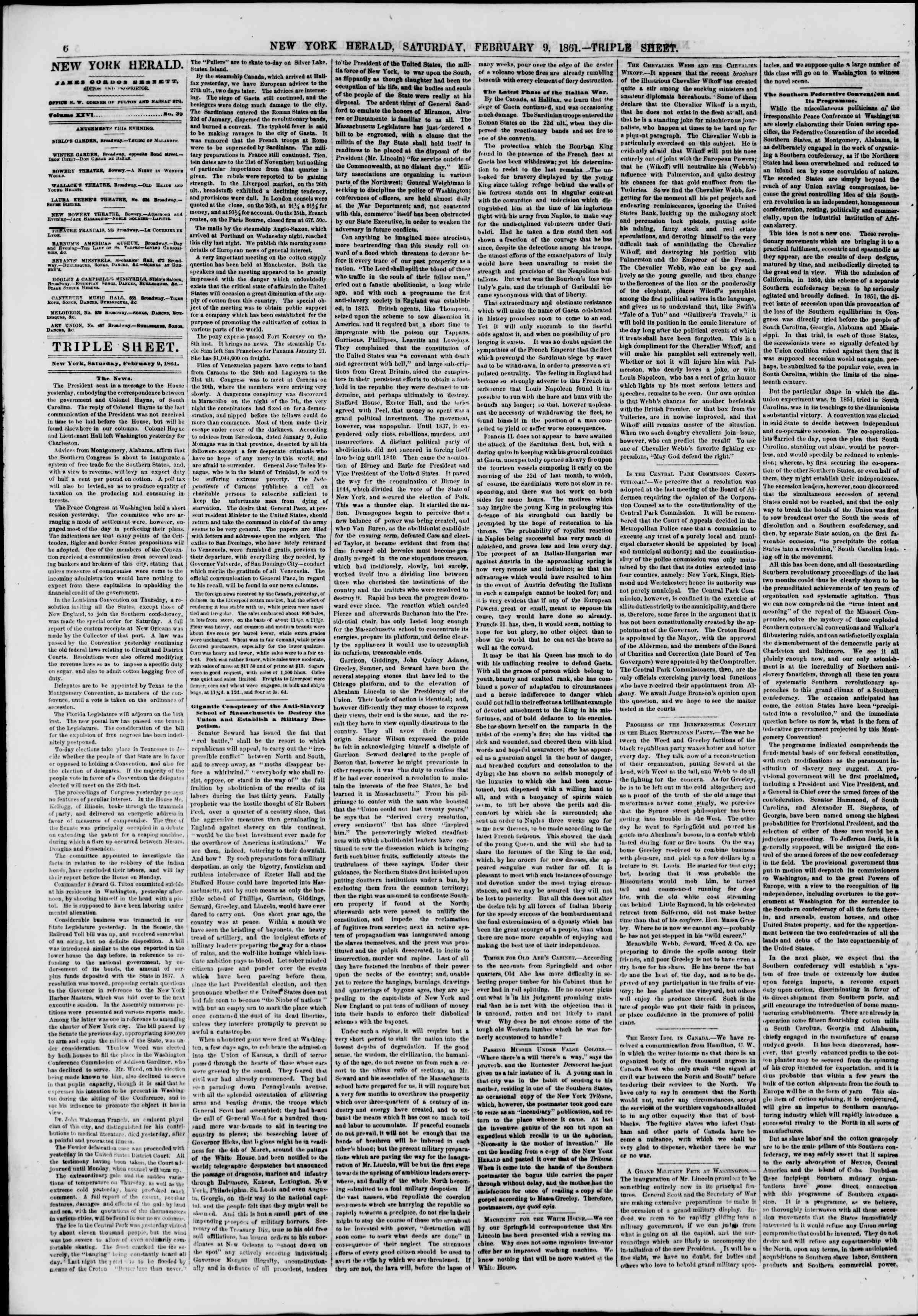 Newspaper of The New York Herald dated February 9, 1861 Page 6