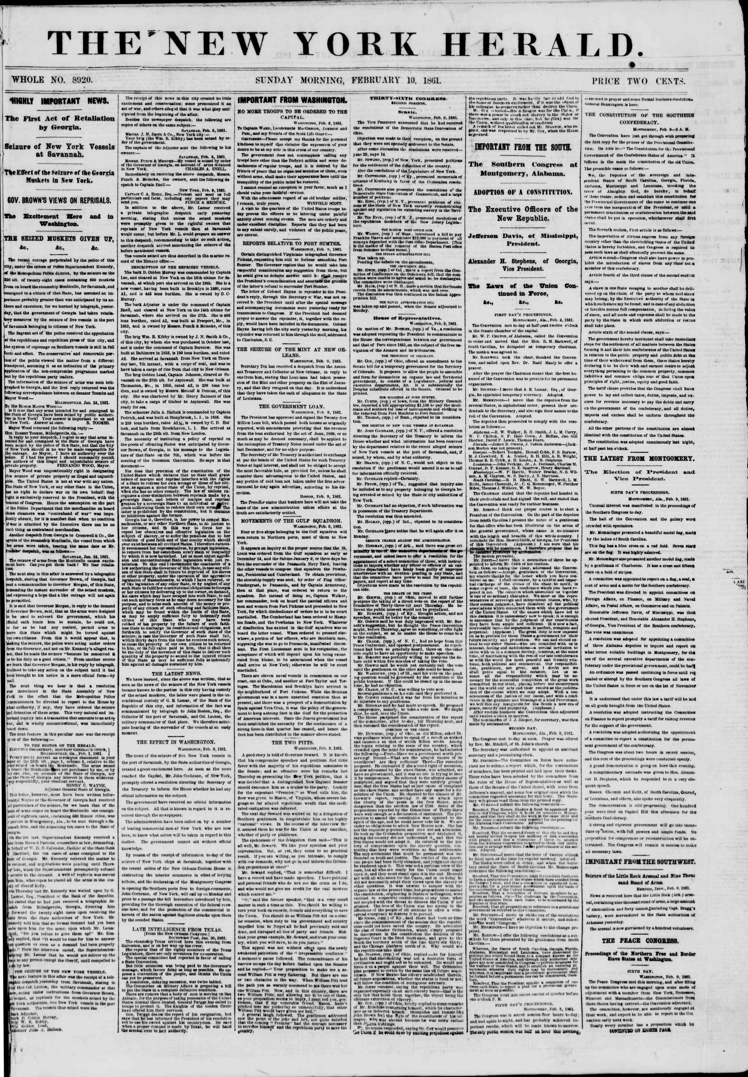 Newspaper of The New York Herald dated February 10, 1861 Page 1