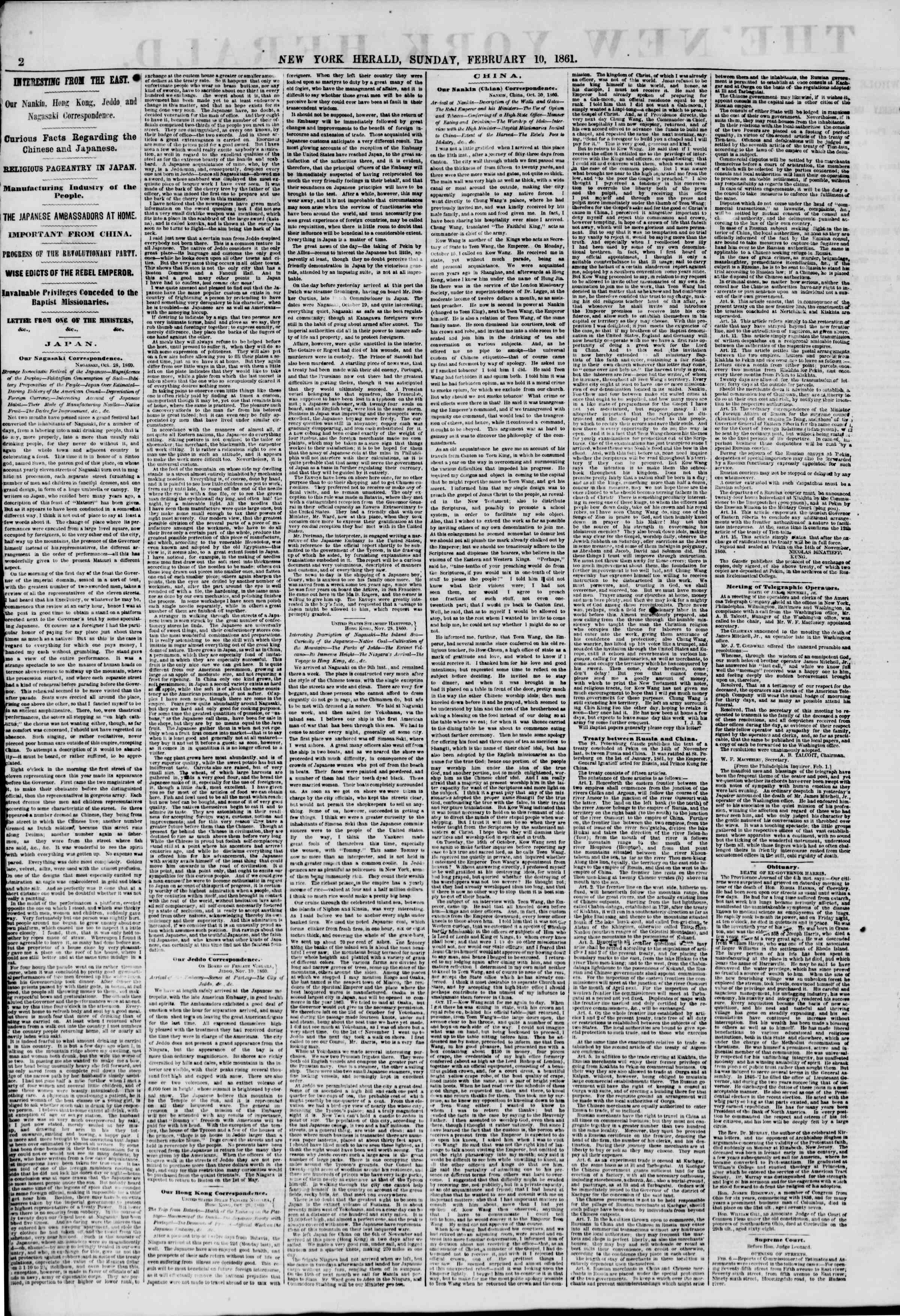 Newspaper of The New York Herald dated February 10, 1861 Page 2