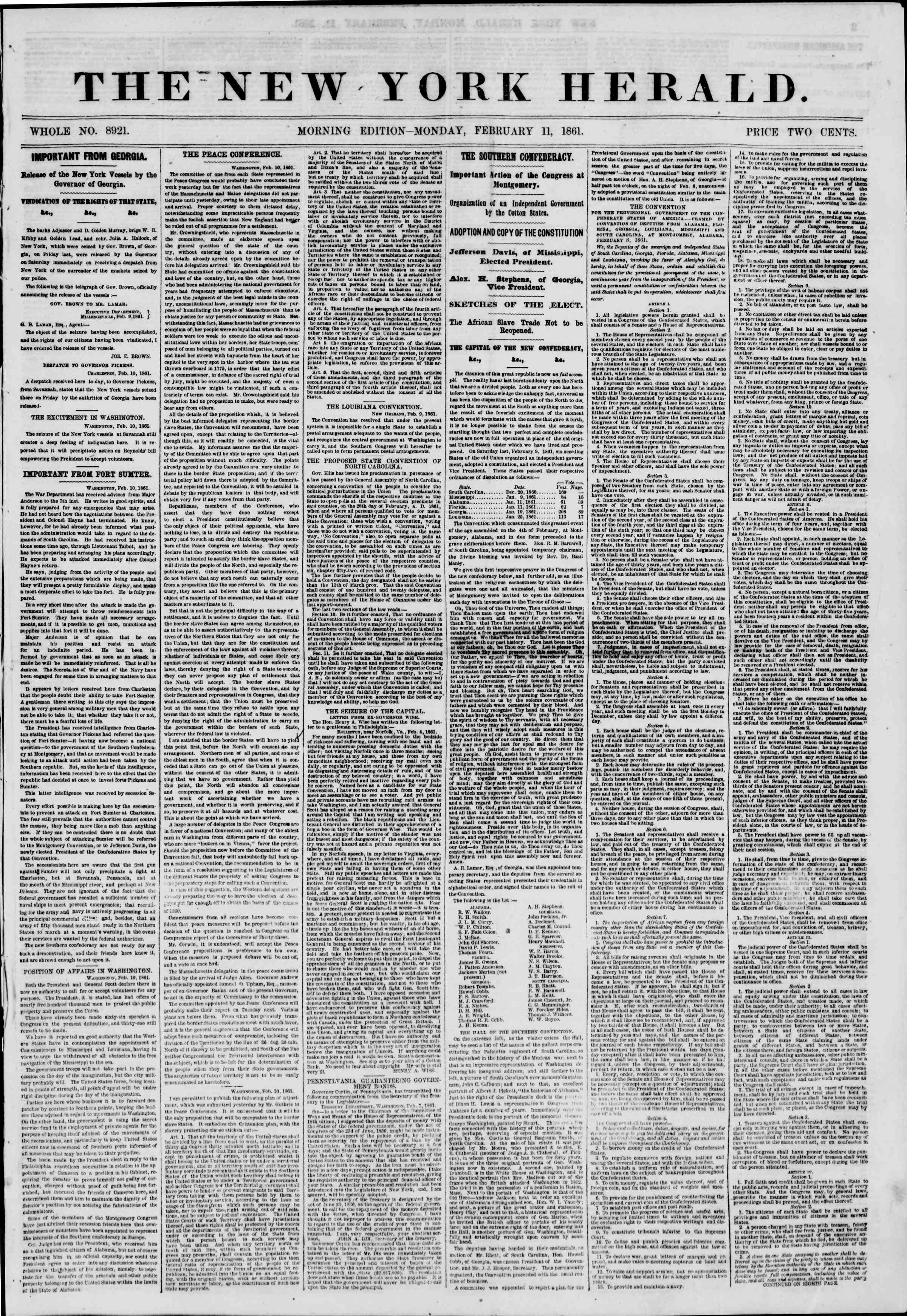 Newspaper of The New York Herald dated February 11, 1861 Page 1