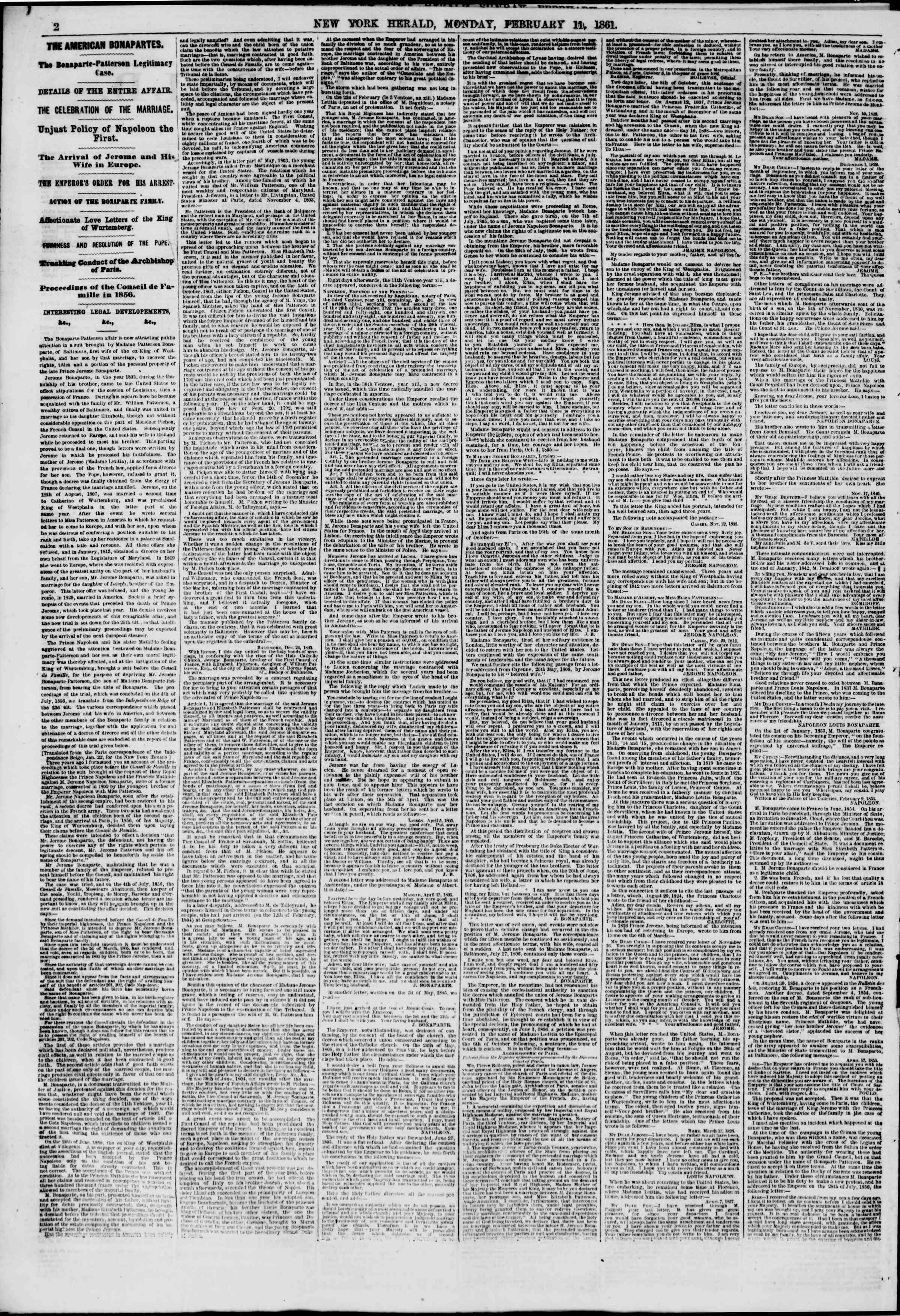 Newspaper of The New York Herald dated February 11, 1861 Page 2
