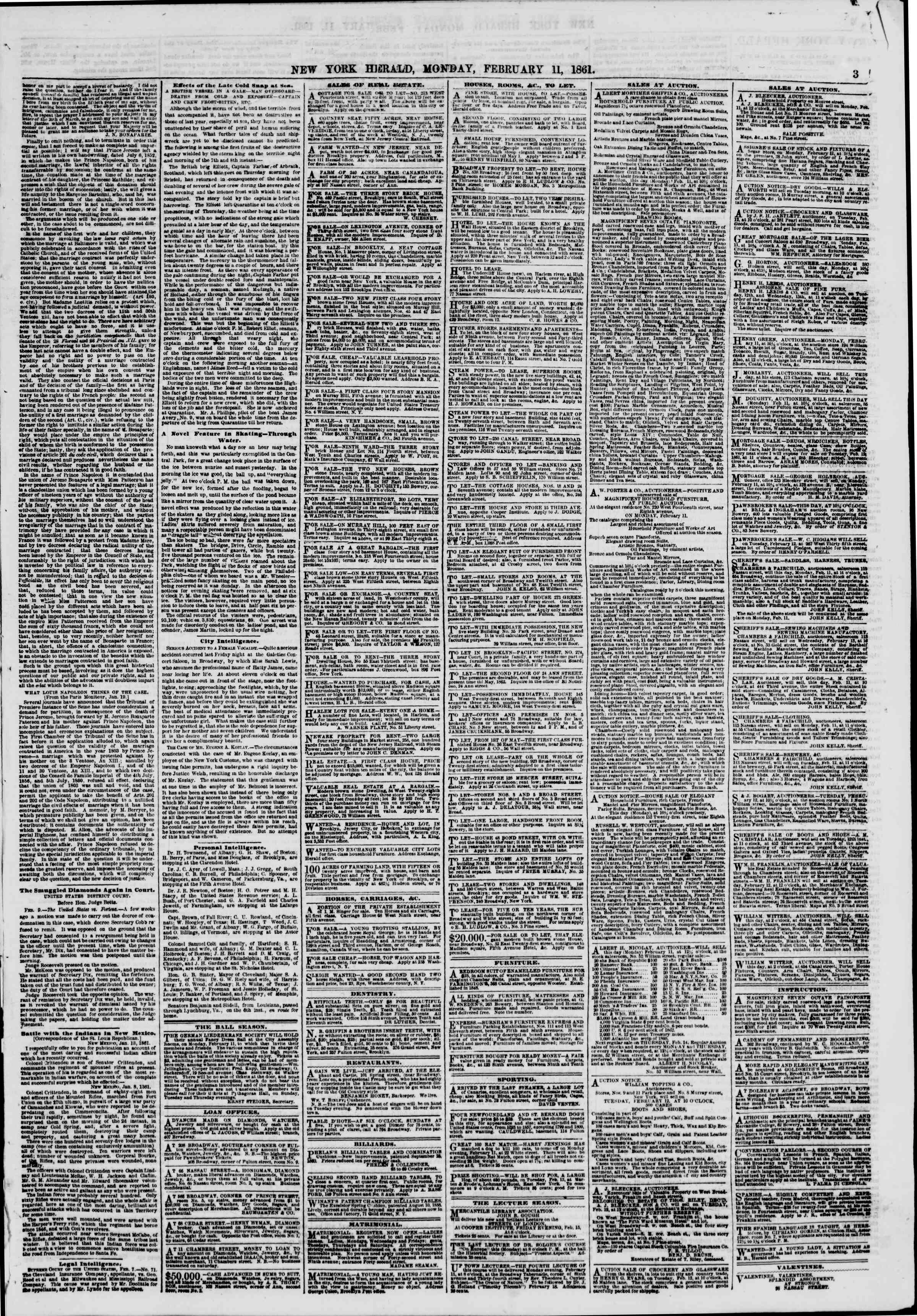 Newspaper of The New York Herald dated February 11, 1861 Page 3