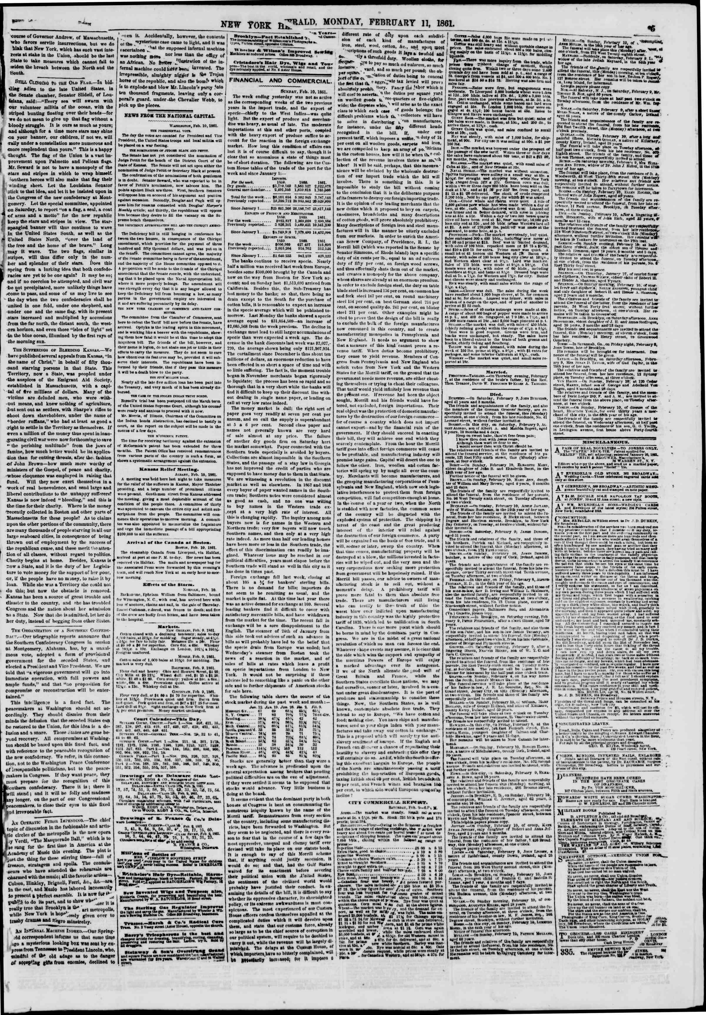 Newspaper of The New York Herald dated February 11, 1861 Page 5