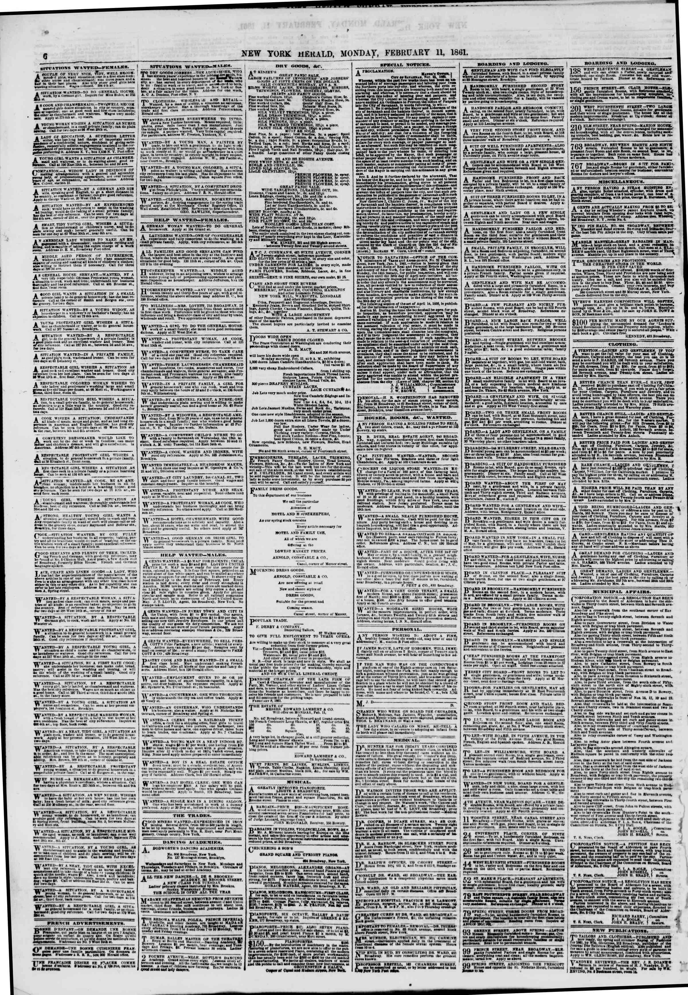 Newspaper of The New York Herald dated February 11, 1861 Page 6
