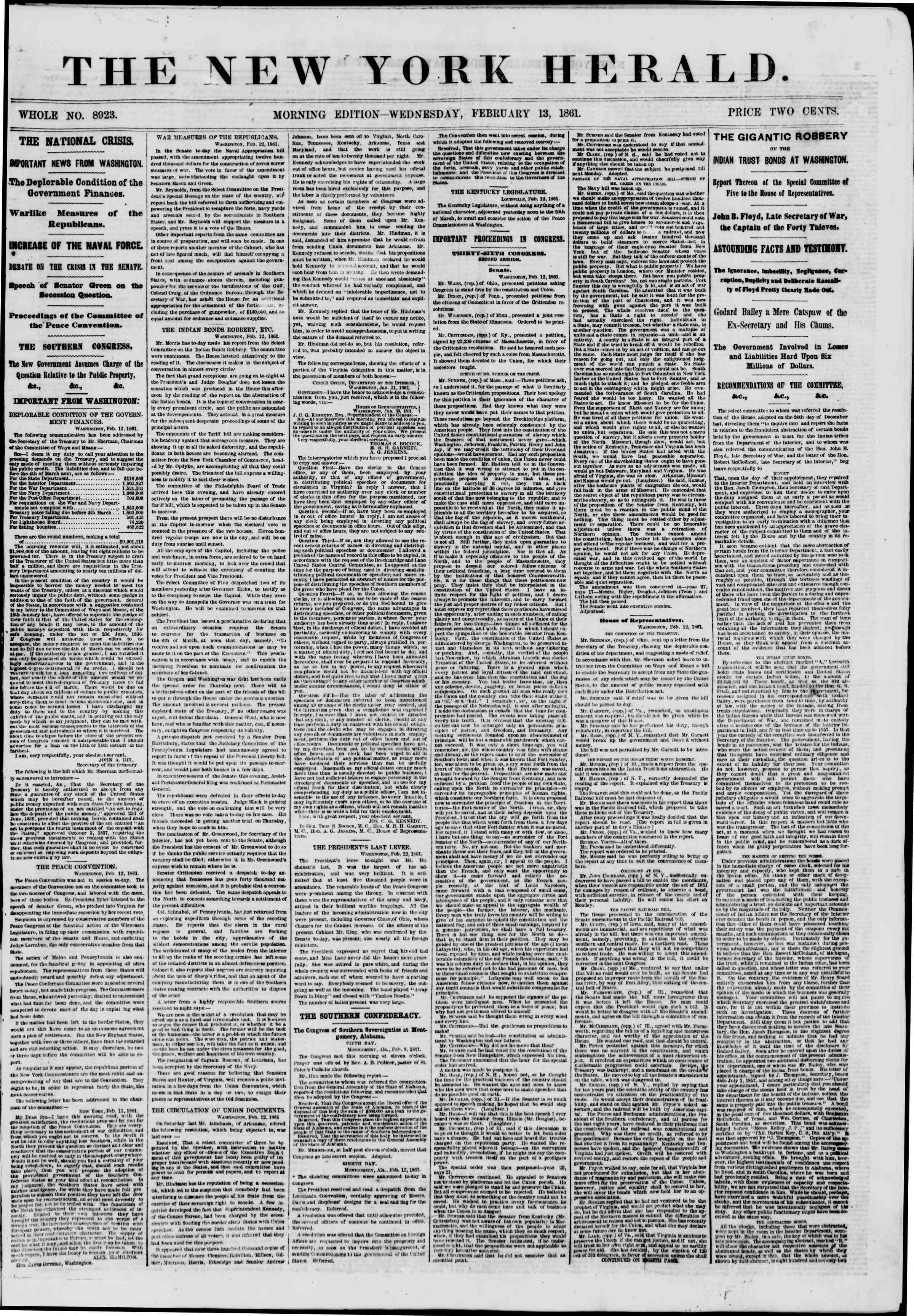 Newspaper of The New York Herald dated February 13, 1861 Page 1