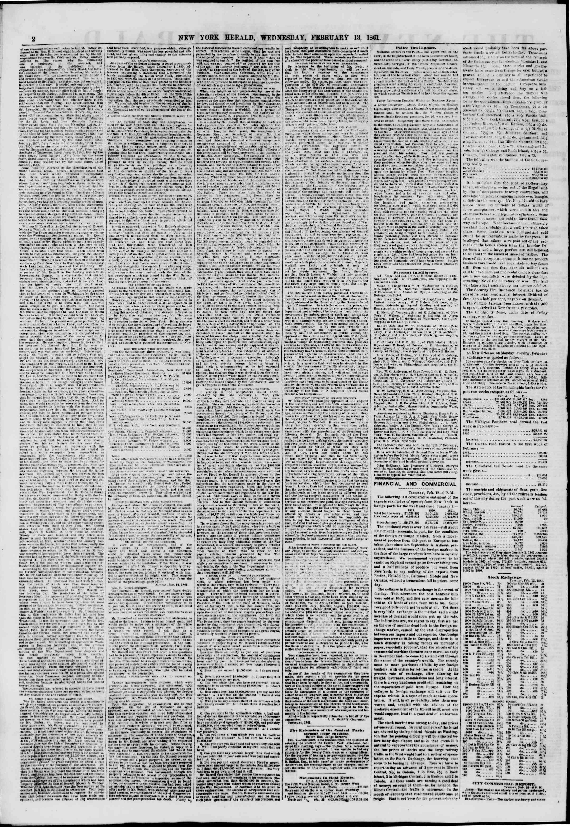 Newspaper of The New York Herald dated February 13, 1861 Page 2
