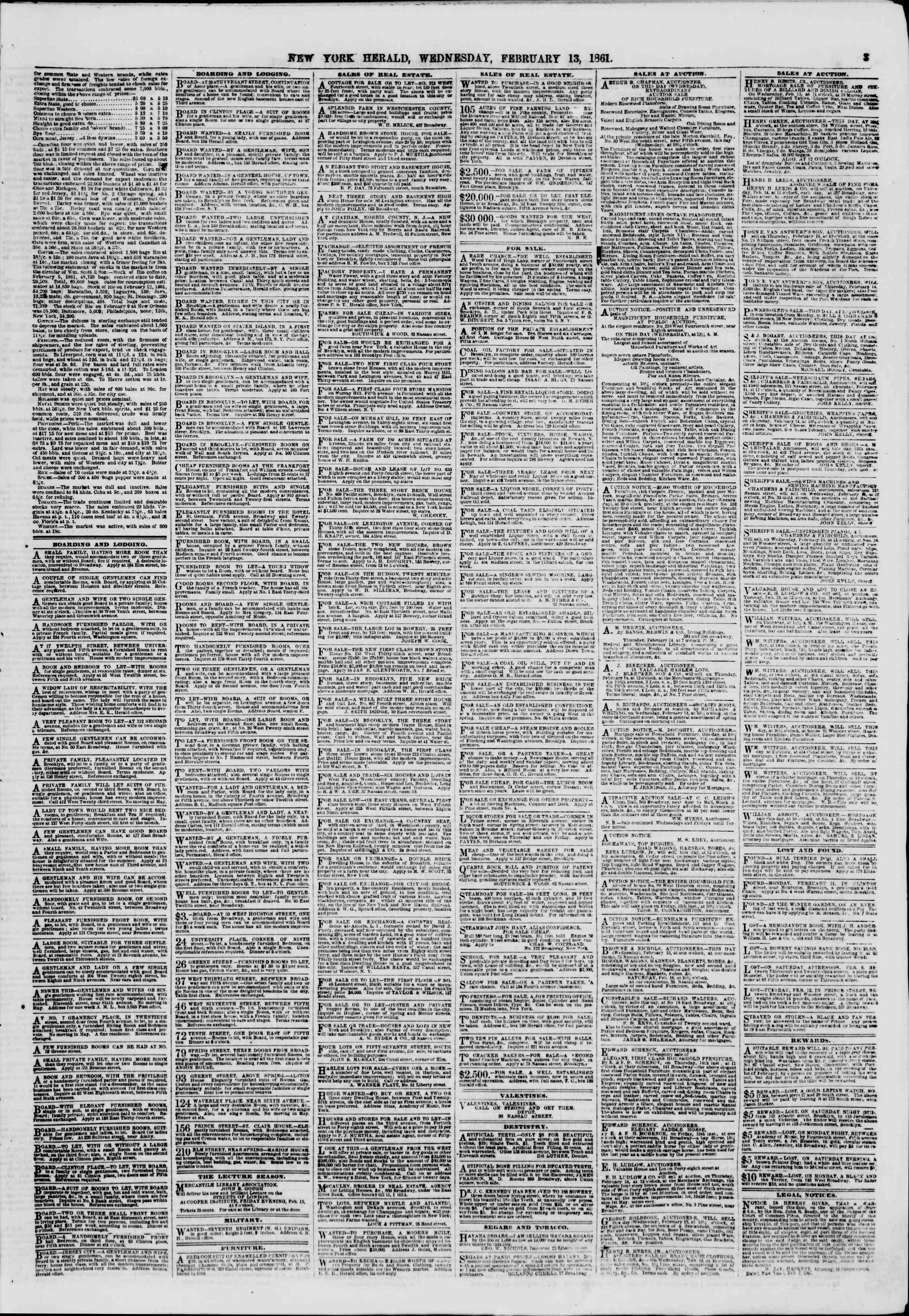 Newspaper of The New York Herald dated February 13, 1861 Page 3
